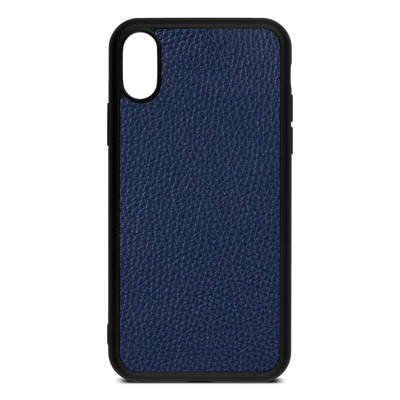 Blank iPhone Xs Navy Blue Pebble Grain Leather Case