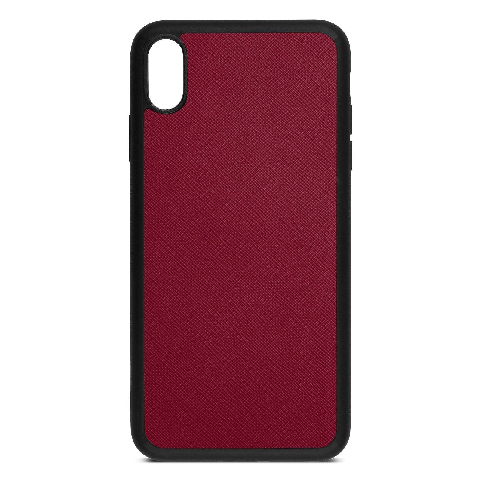 Blank Personalised Dark Red Saffiano Leather iPhone XS Max Case