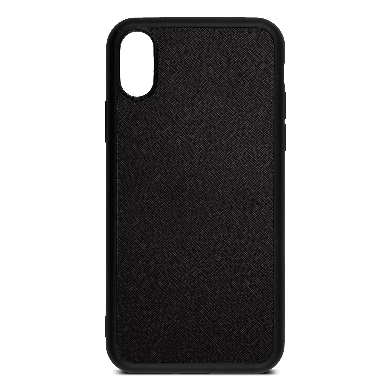Blank iPhone X Drop Shadow Black Leather Case