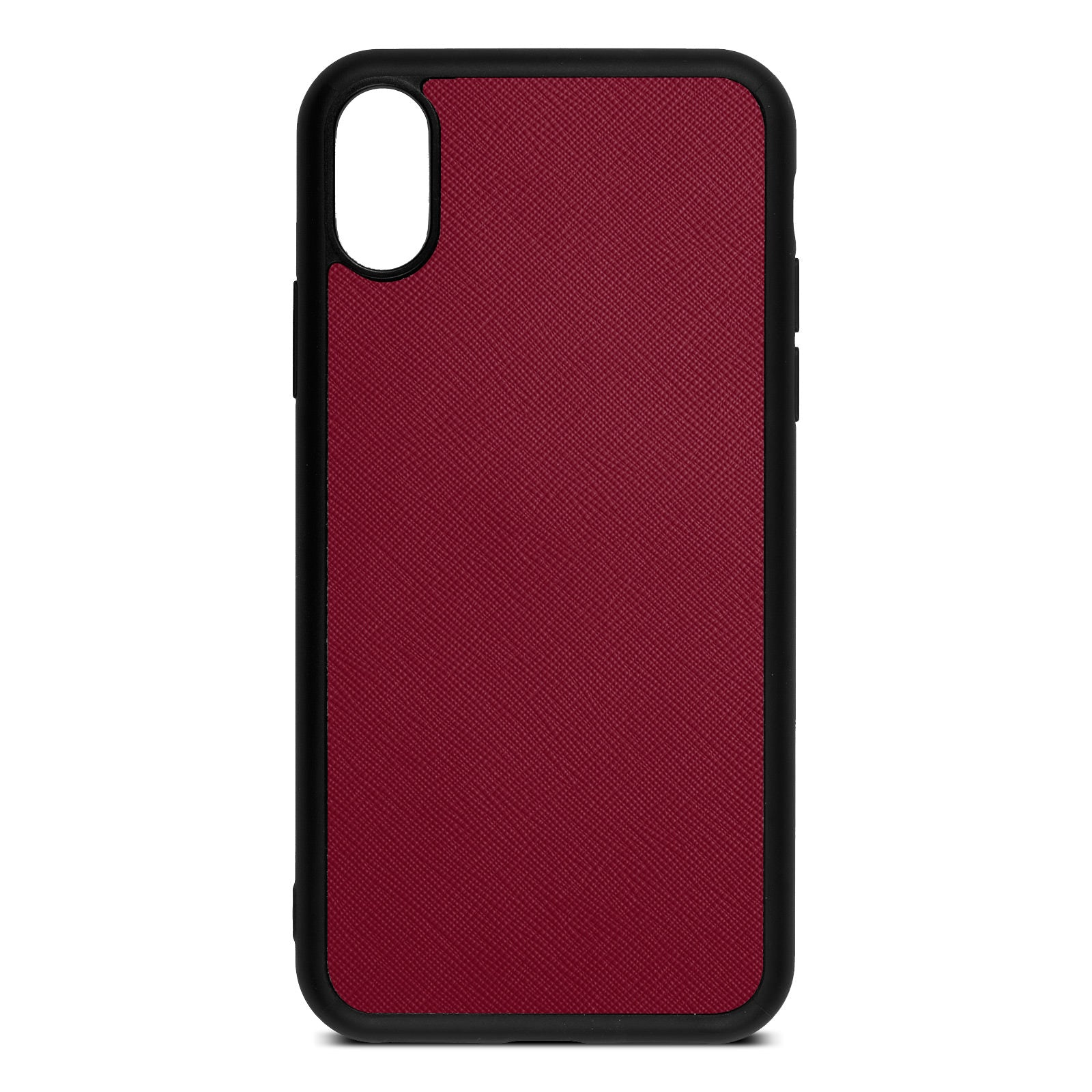 Blank Personalised Dark Red Saffiano Leather iPhone XS Case