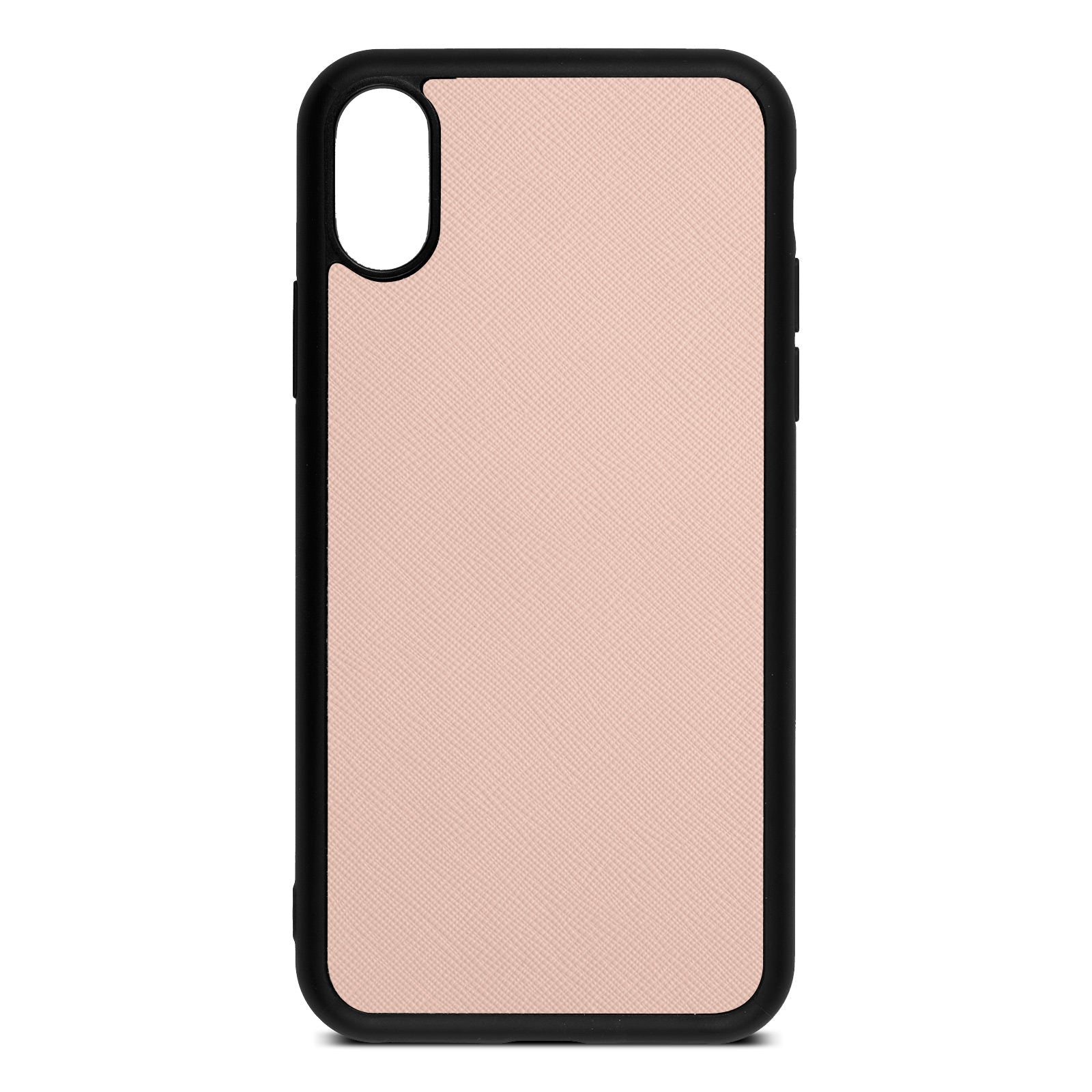 Blank Personalised Nude Saffiano Leather iPhone X Case