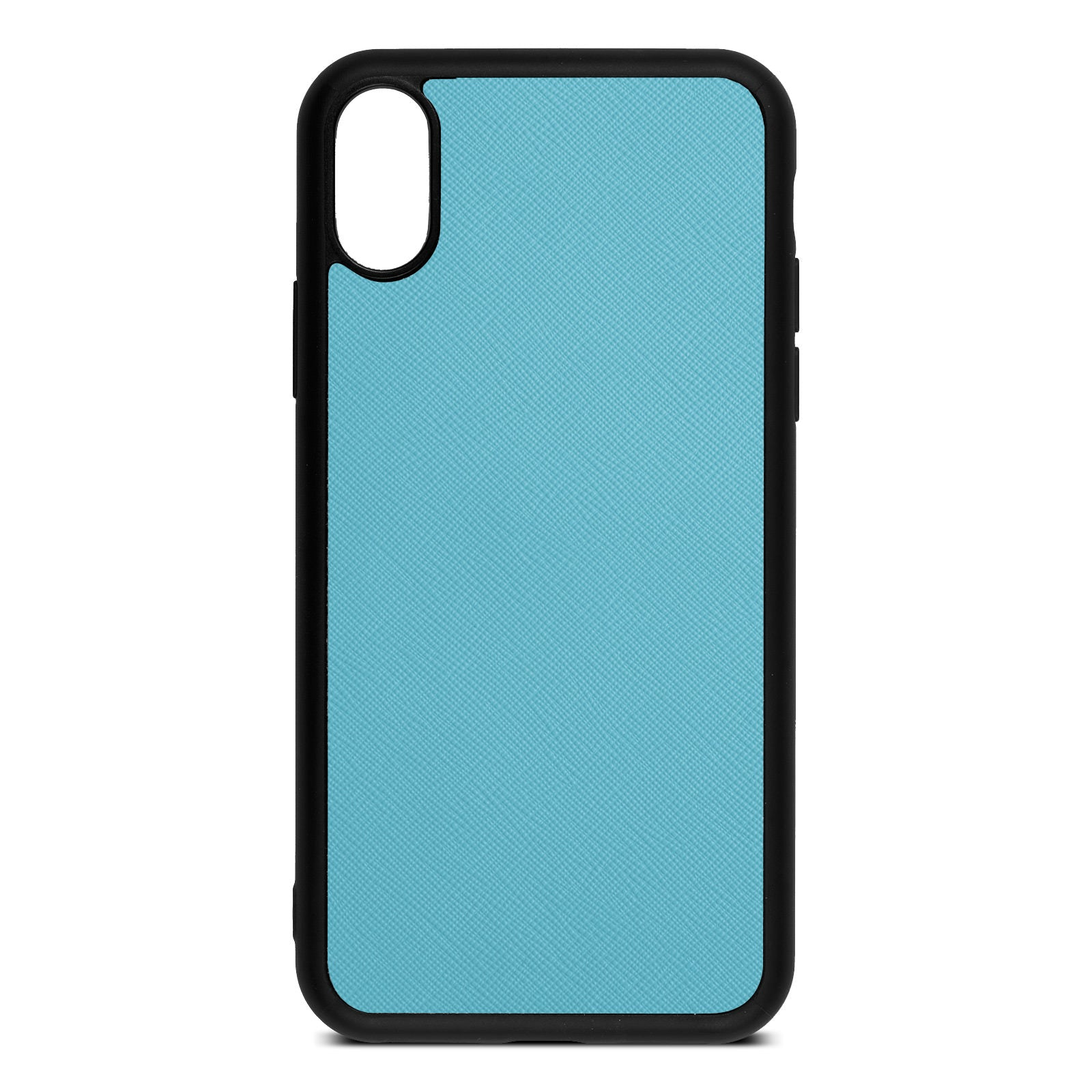 Blank Personalised Sky Blue Saffiano Leather iPhone XS Case
