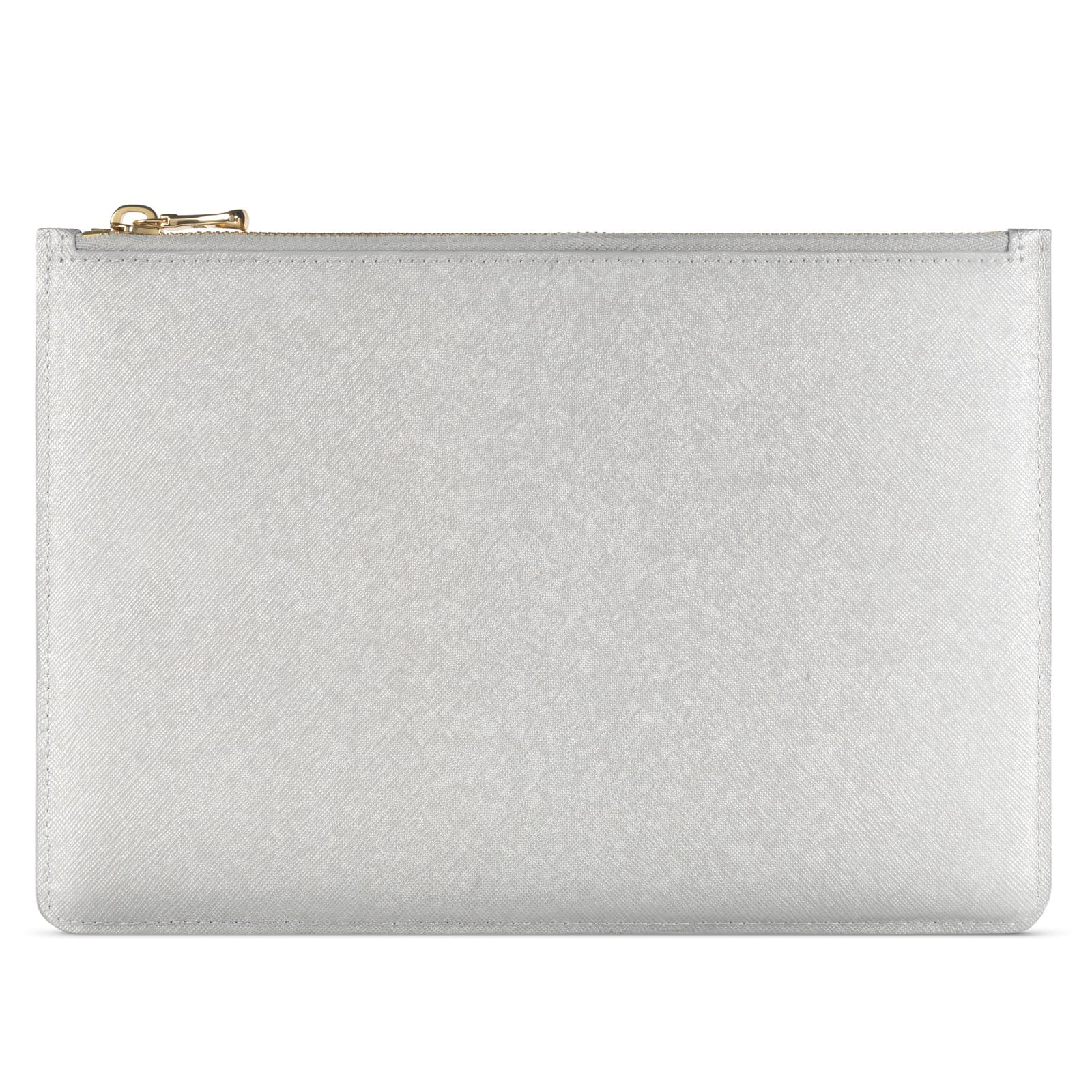 Blank Personalised Silver Saffiano Leather Pouch