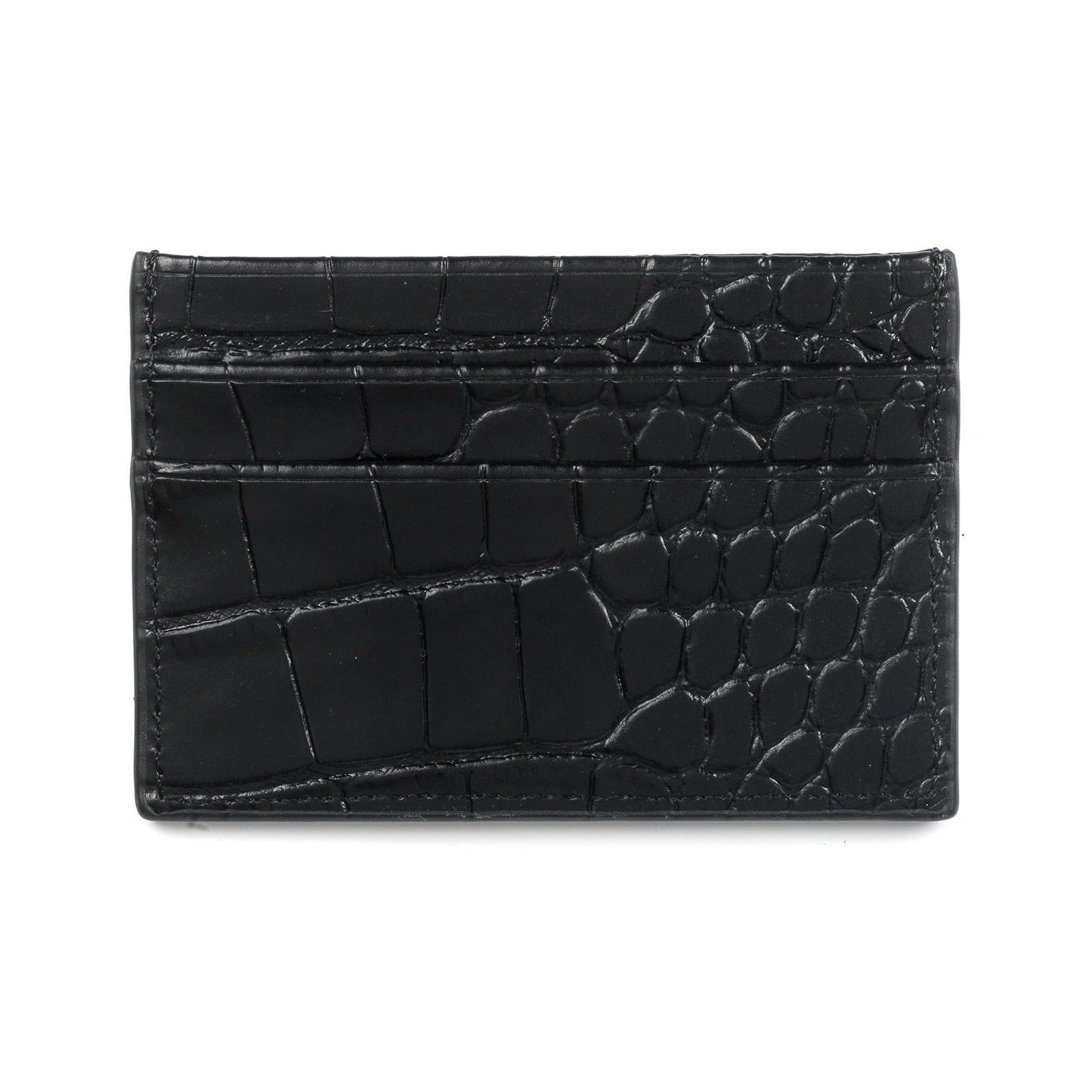 Blank Personalised Black Croc Leather Card Holder