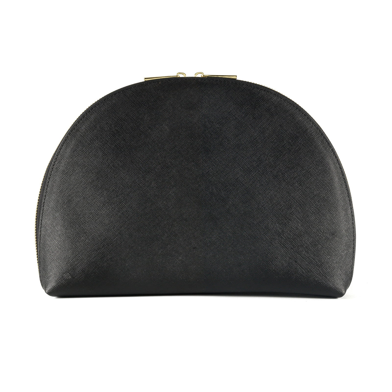 Blank Personalised Black Saffiano Leather Half Moon Clutch