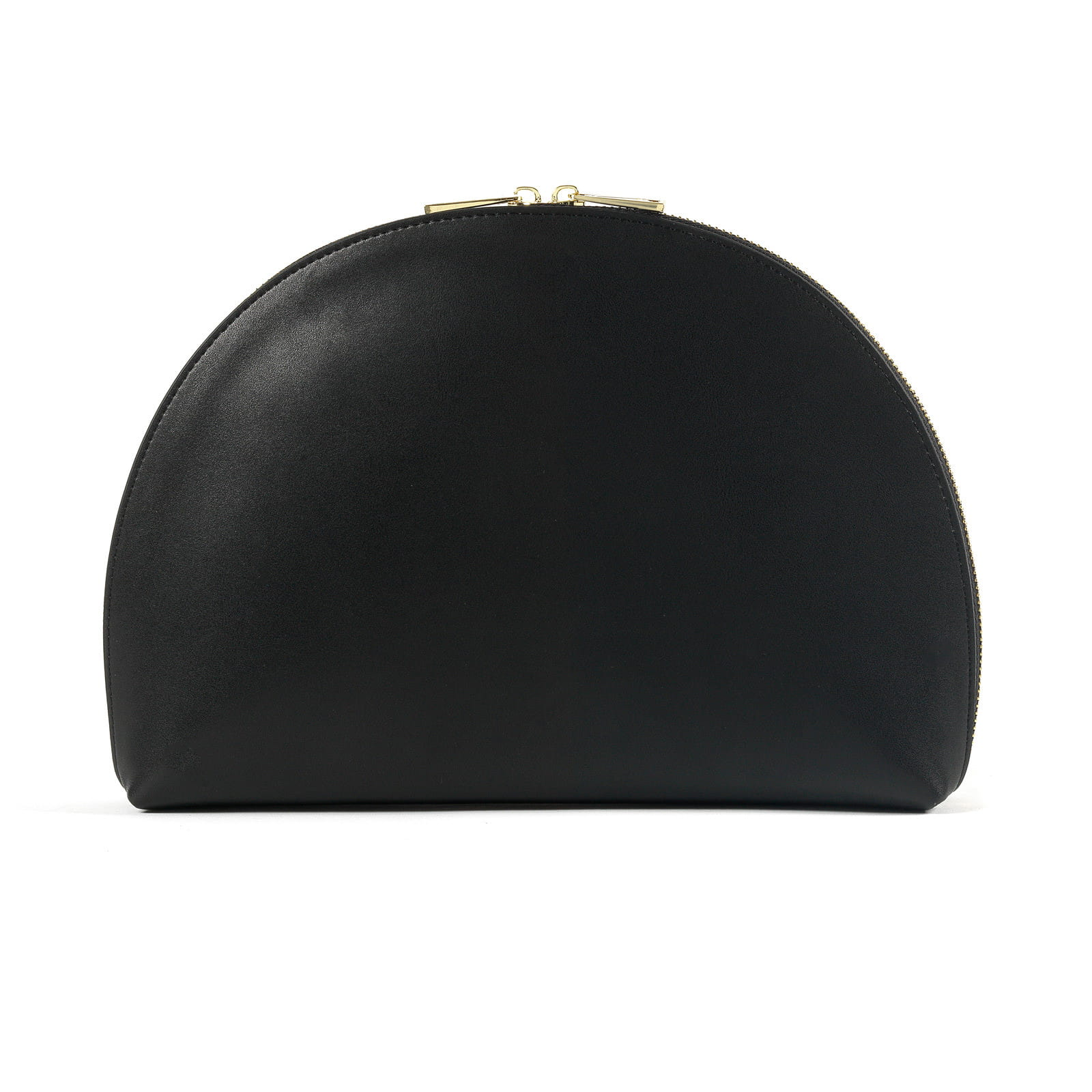 Blank Personalised Black Smooth Leather Half Moon Clutch