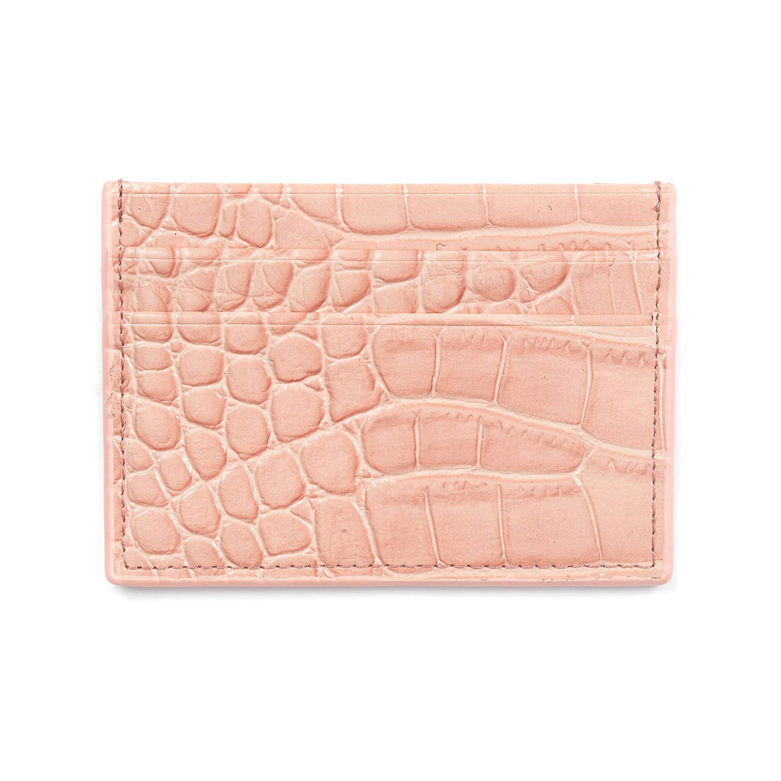 Blank Personalised Pink Croc Leather Card Holder