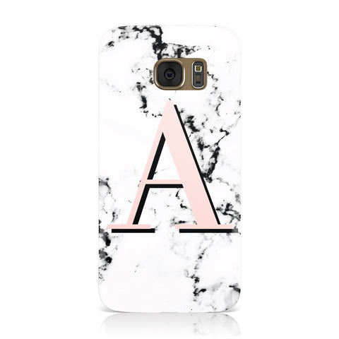 Personalised Block Coral Monogram Marble Samsung Galaxy Case