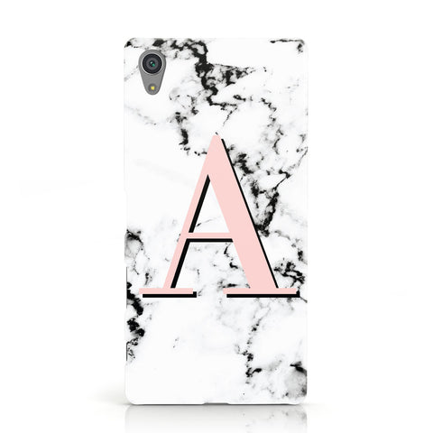 Personalised Block Coral Monogram Marble Sony Xperia Case
