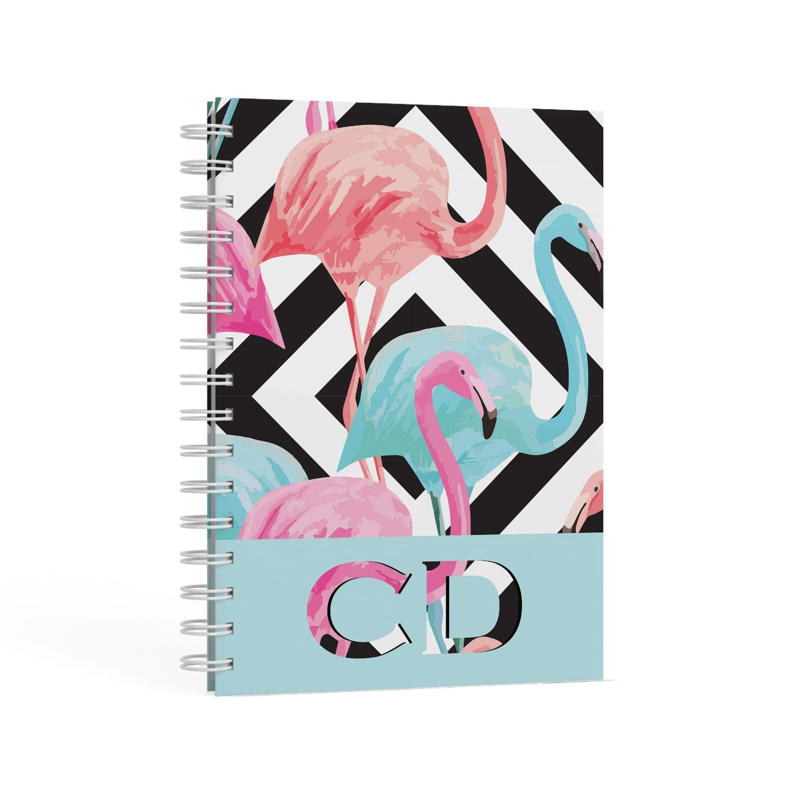Blue & Pink Flamingos A5 Hardcover Notebook Second Side View