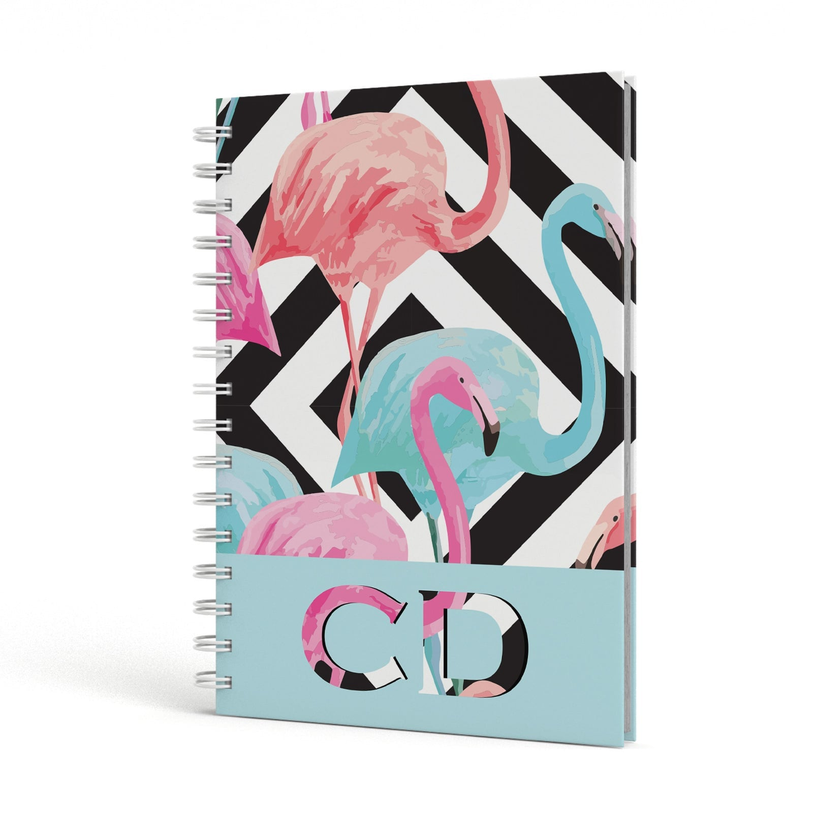 Blue & Pink Flamingos A5 Hardcover Notebook Side View