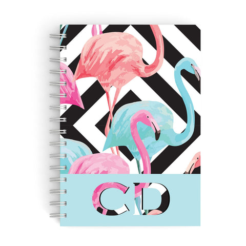 Blue & Pink Flamingos A5 Hardcover Notebook