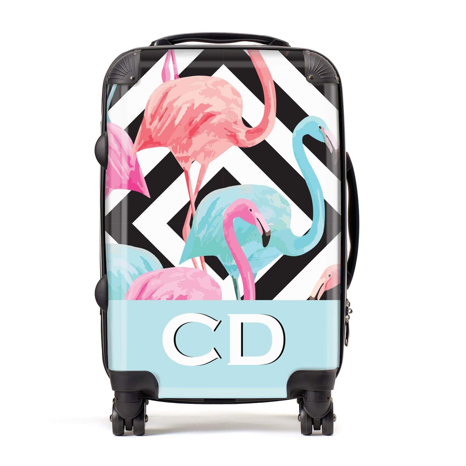 Blue & Pink Flamingos Personalised Suitcase