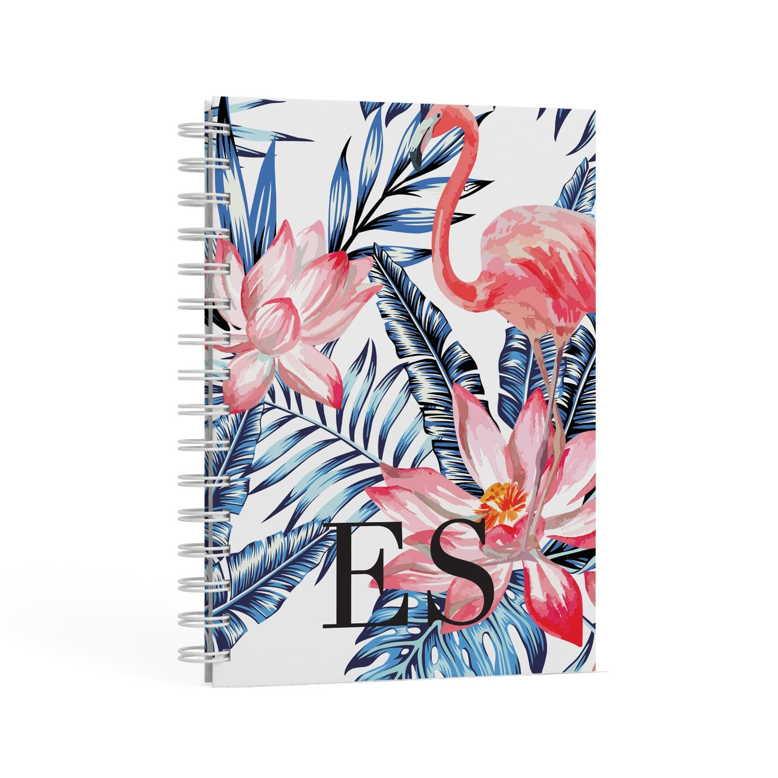 Blue Leaves & Pink Flamingos A5 Hardcover Notebook Second Side View