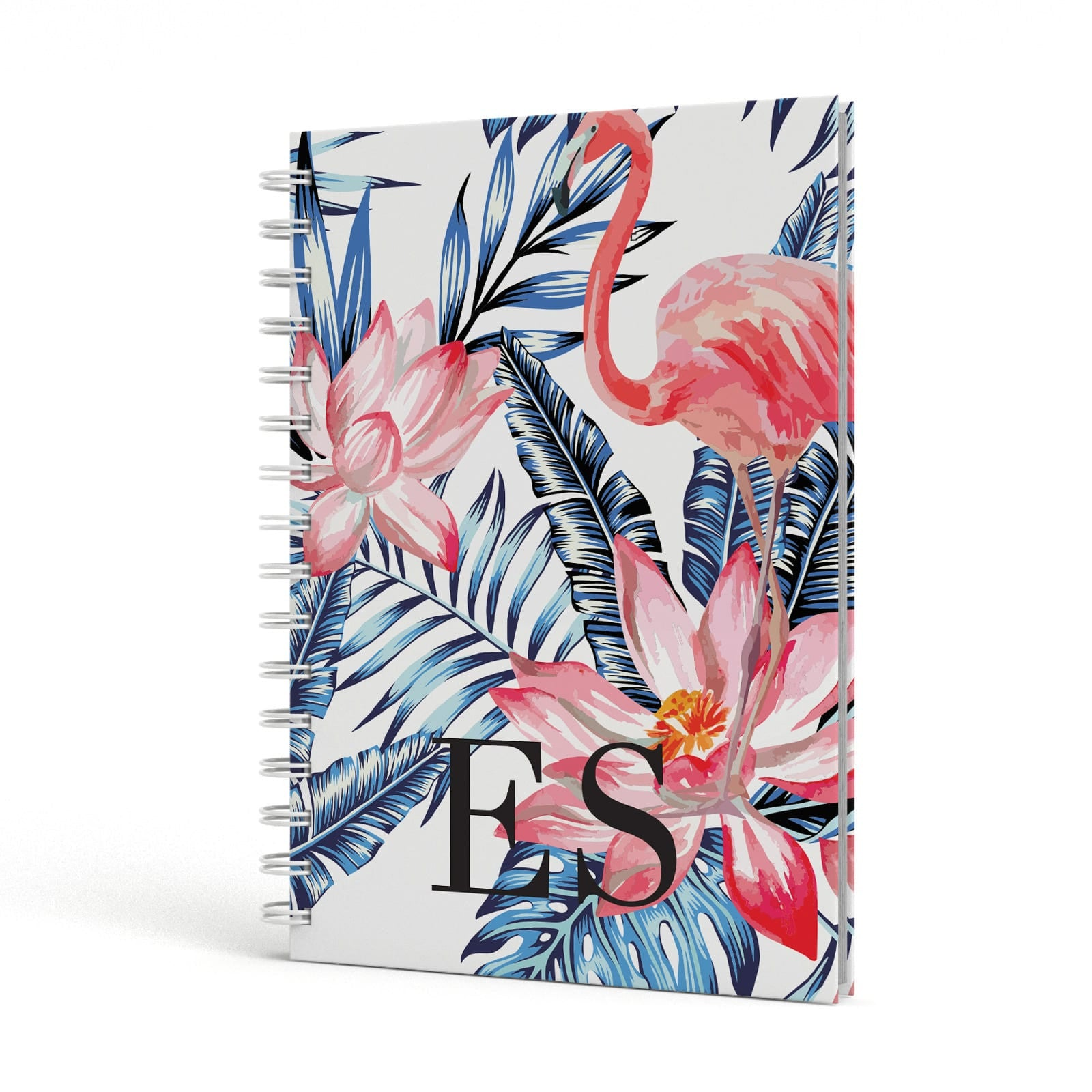 Blue Leaves & Pink Flamingos A5 Hardcover Notebook Side View