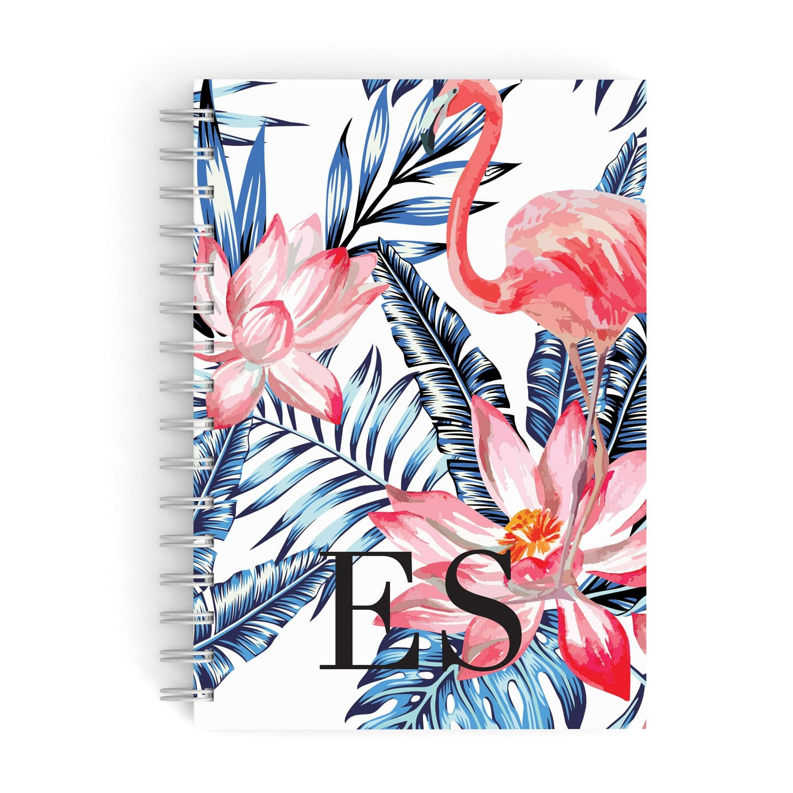 Blue Leaves & Pink Flamingos A5 Hardcover Notebook