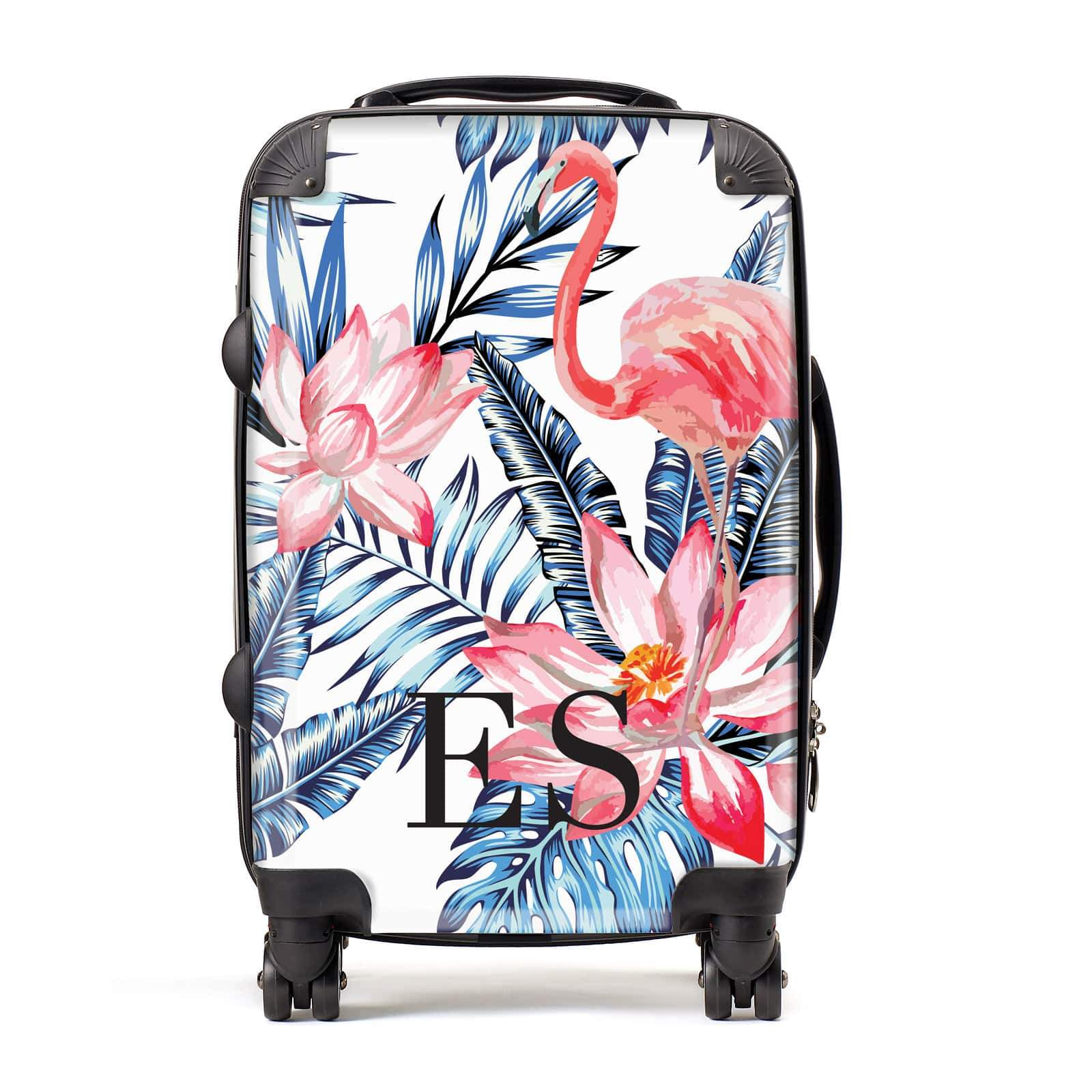 Blue Leaves & Pink Flamingos Personalised Suitcase
