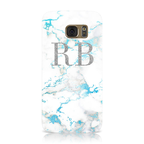 Personalised Blue Marble Initials Samsung Galaxy Case