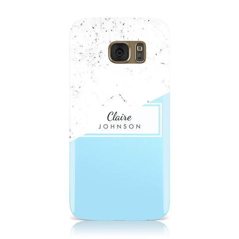 Personalised Blue Marble With Name Initials Samsung Galaxy Case