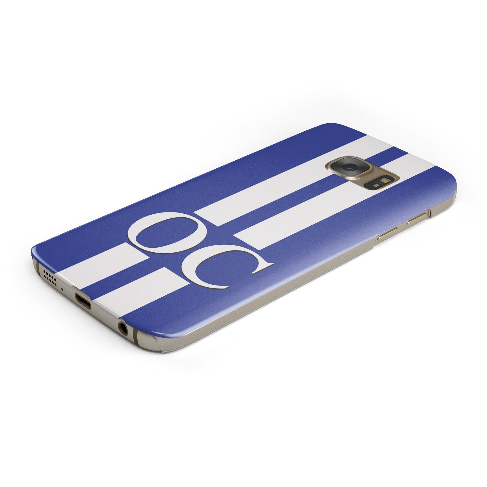 Blue Personalised Initials Samsung Galaxy Case Bottom Cutout