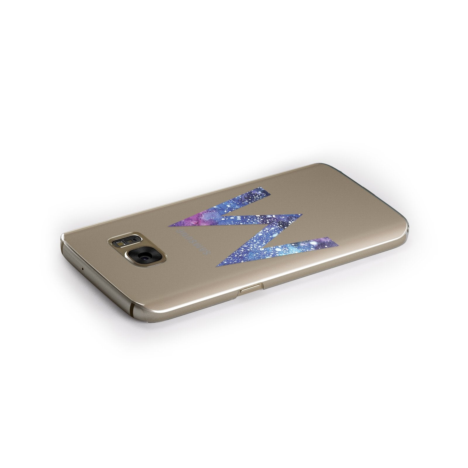 Personalised Blue Space Initial Clear Custom Samsung Galaxy Case Side Close Up