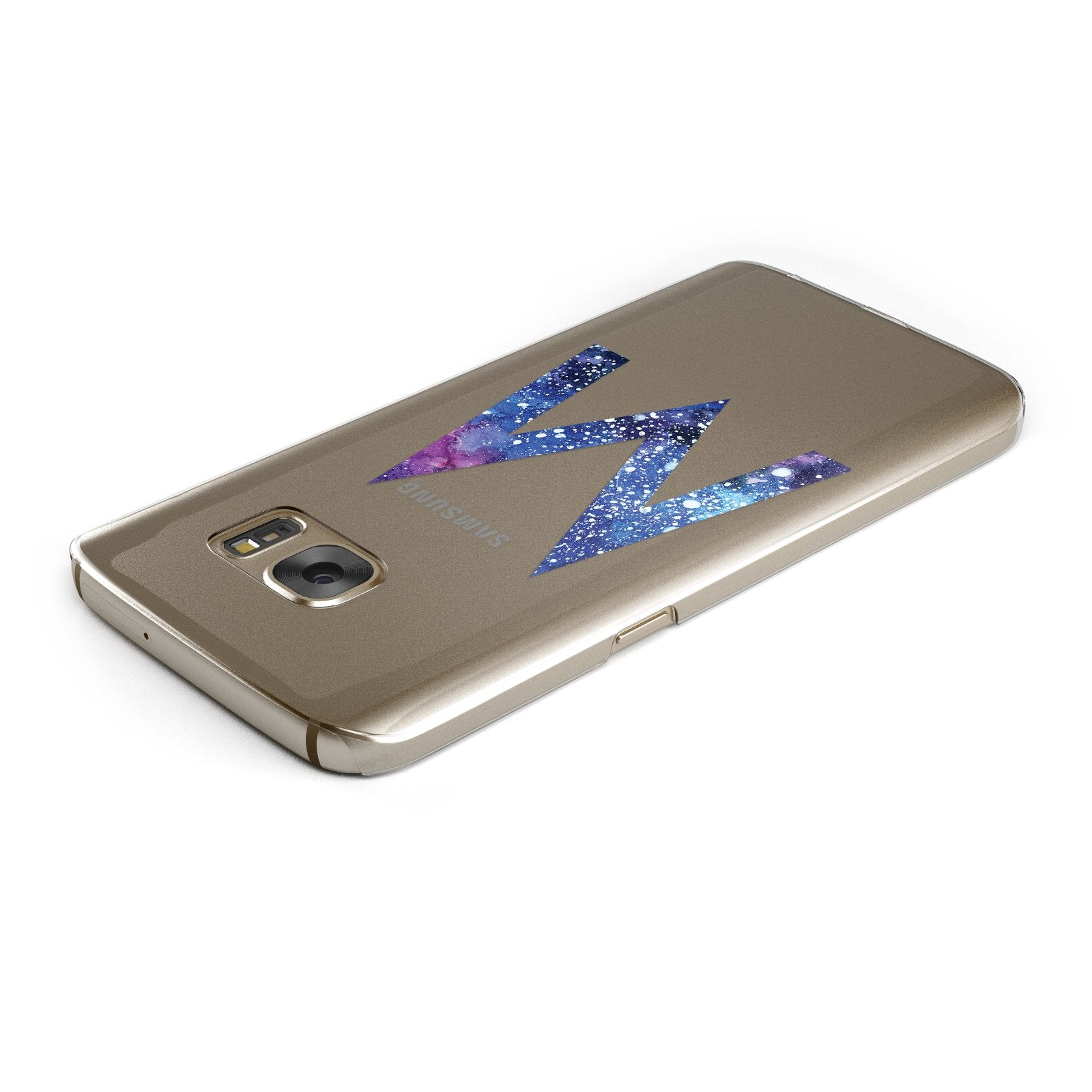 Personalised Blue Space Initial Clear Custom Samsung Galaxy Case Top Cutout