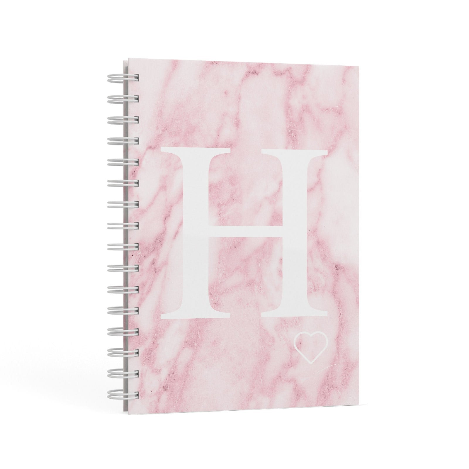 Blush Marble Custom Initial Personalised A5 Hardcover Notebook Second Side View