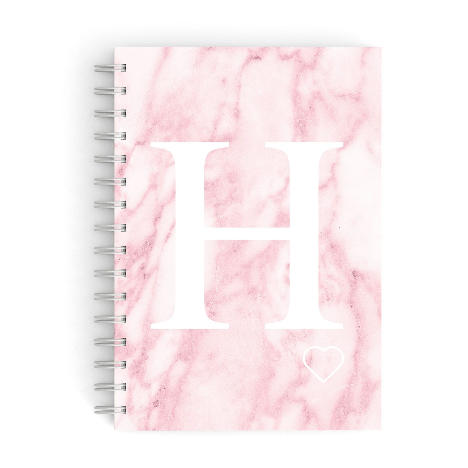 Blush Marble Custom Initial Personalised A5 Hardcover Notebook