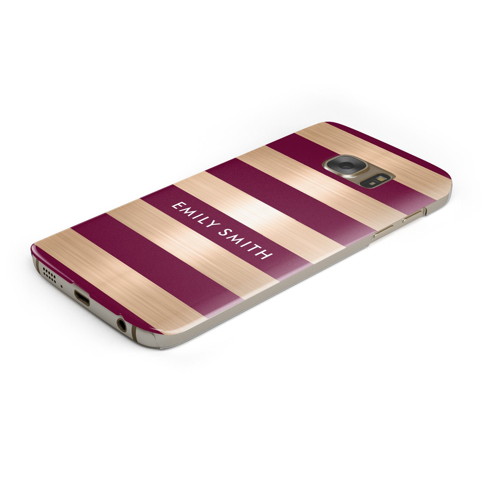 Personalised Burgundy Gold Name Initials Samsung Galaxy Case Bottom Cutout