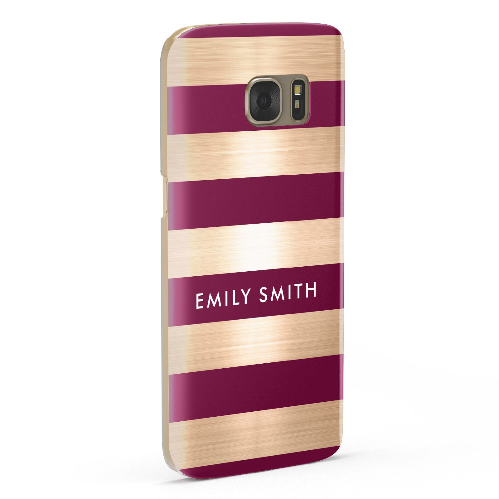 Personalised Burgundy Gold Name Initials Samsung Galaxy Case Fourty Five Degrees