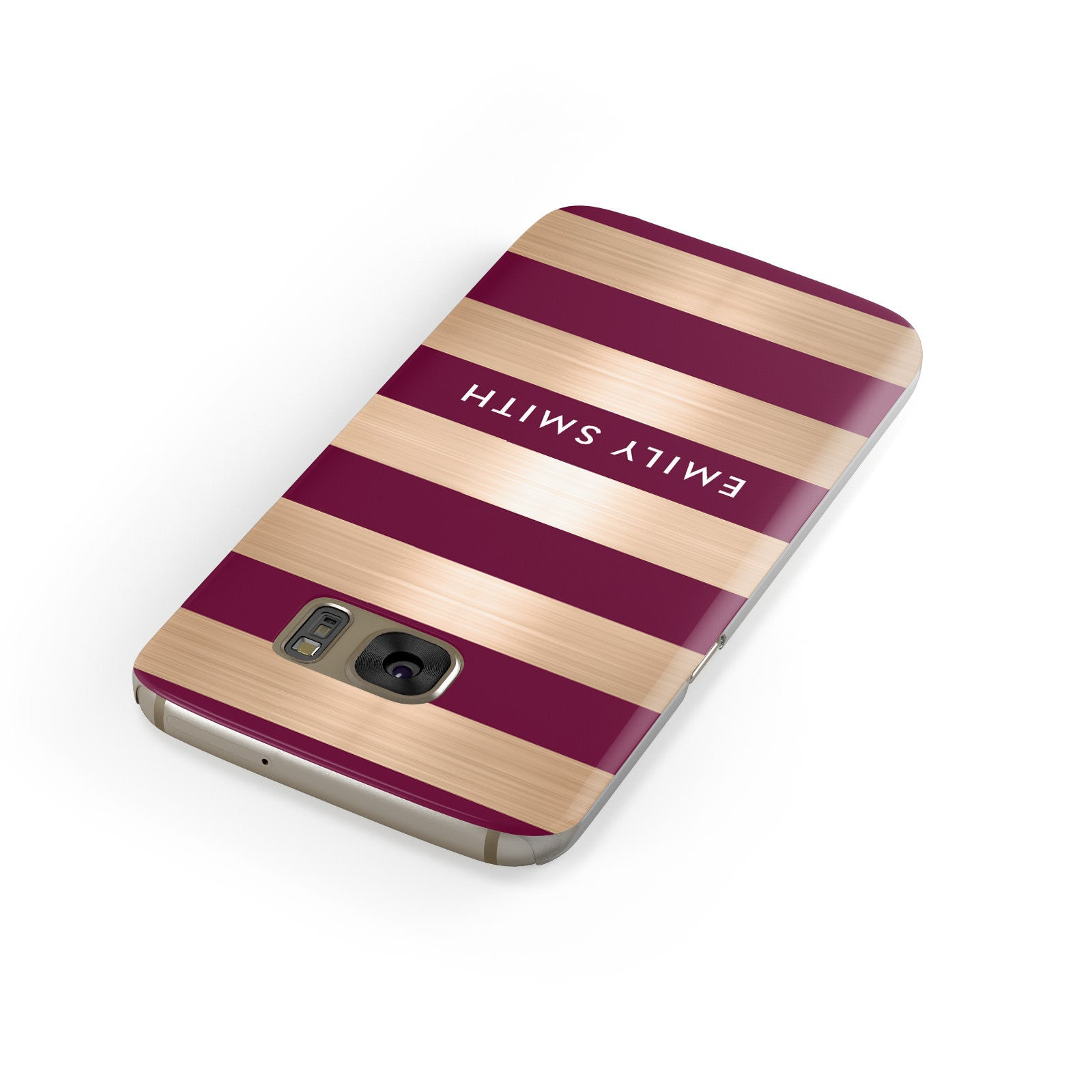 Personalised Burgundy Gold Name Initials Samsung Galaxy Case Front Close Up