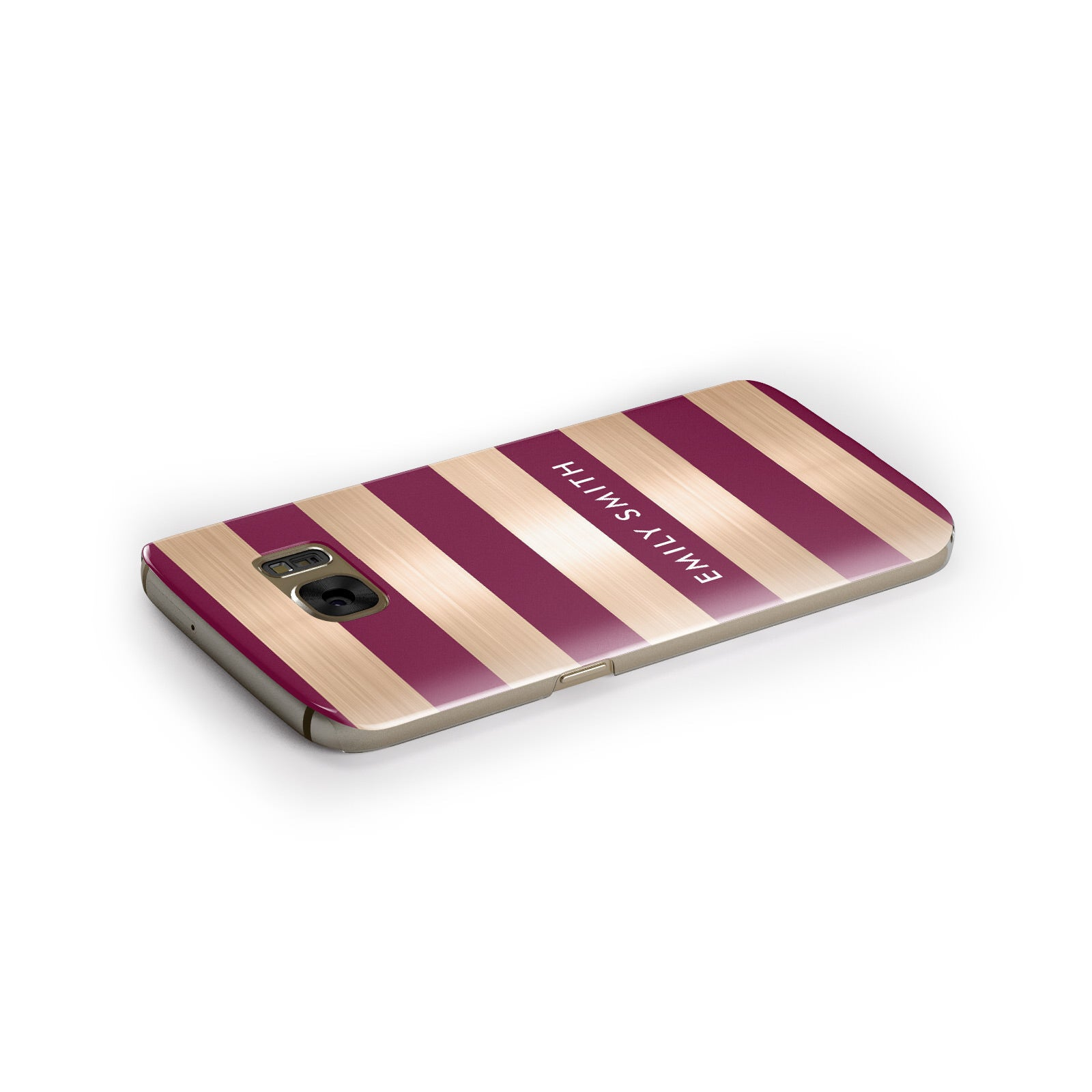 Personalised Burgundy Gold Name Initials Samsung Galaxy Case Side Close Up