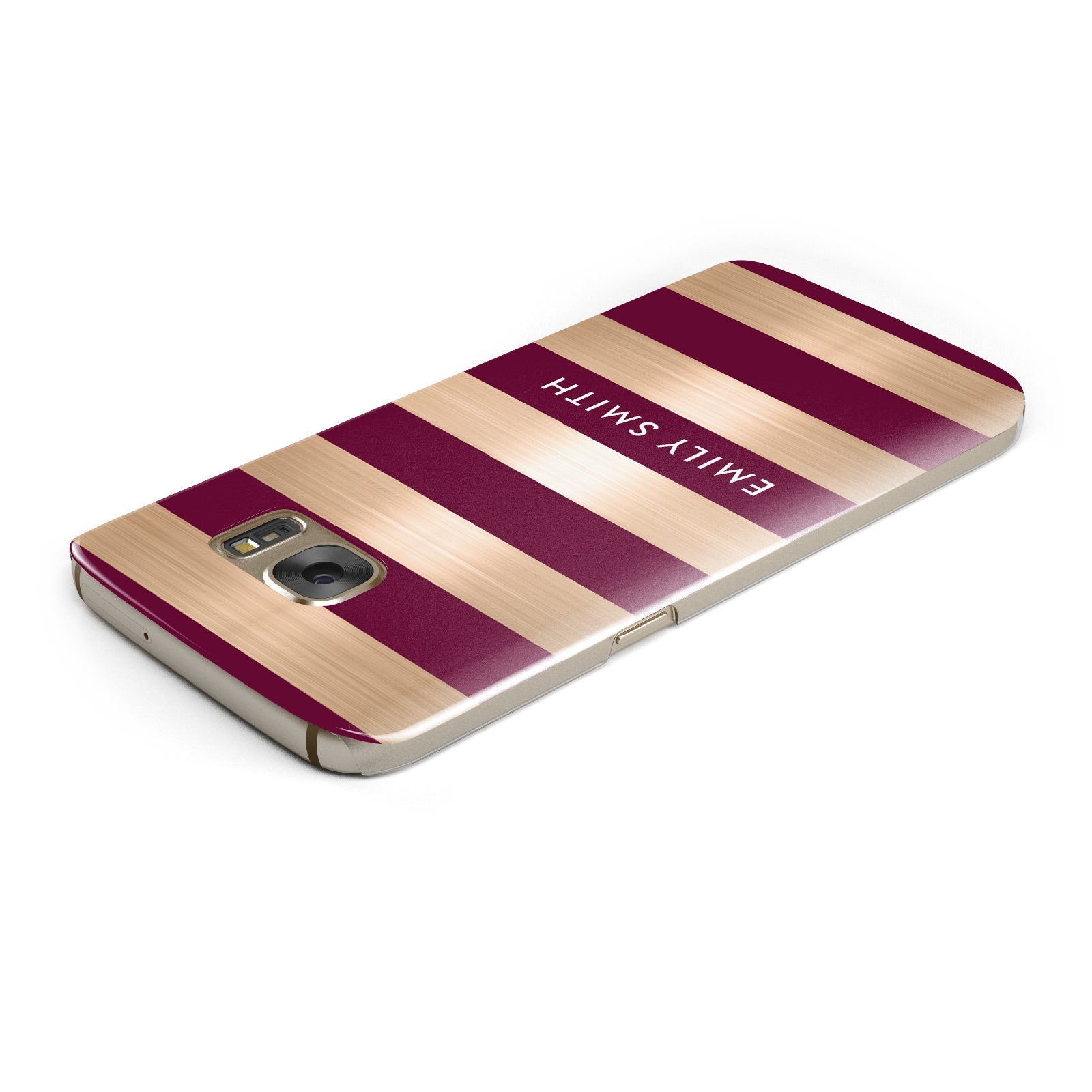 Personalised Burgundy Gold Name Initials Samsung Galaxy Case Top Cutout