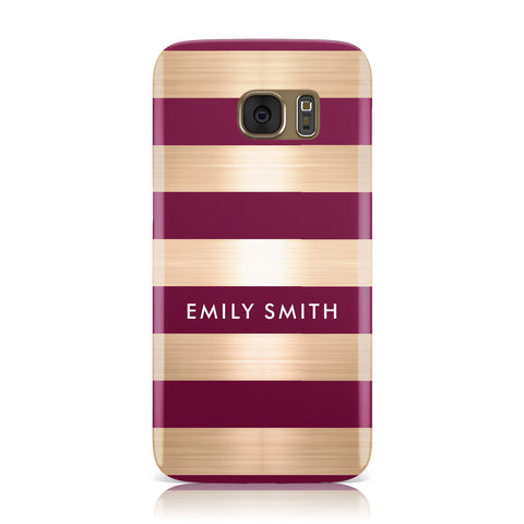 Personalised Burgundy Gold Name Initials Samsung Galaxy Case