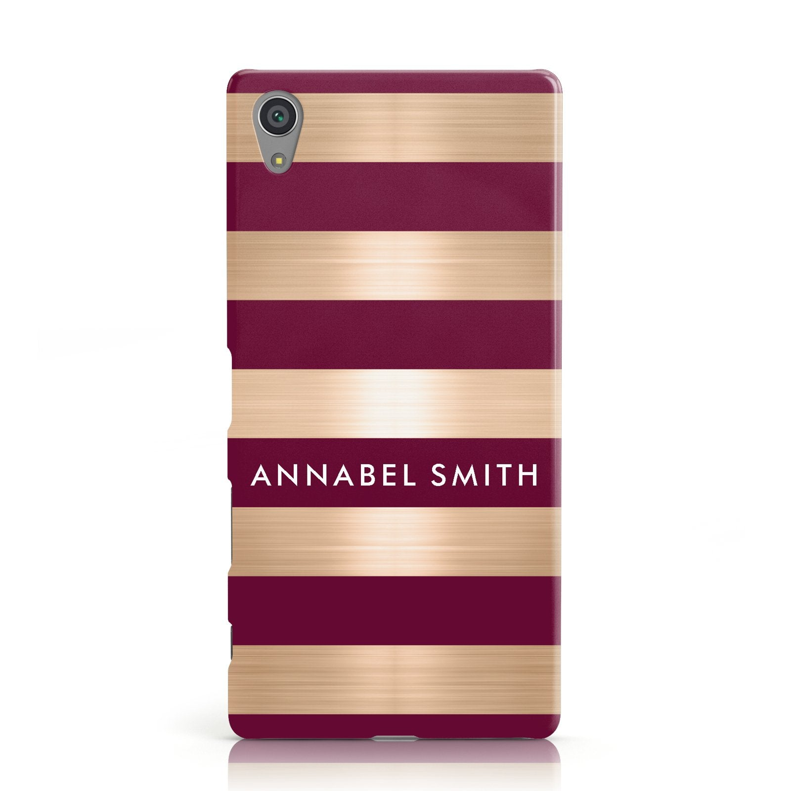 Personalised Burgundy Gold Name Initials Sony Xperia Case