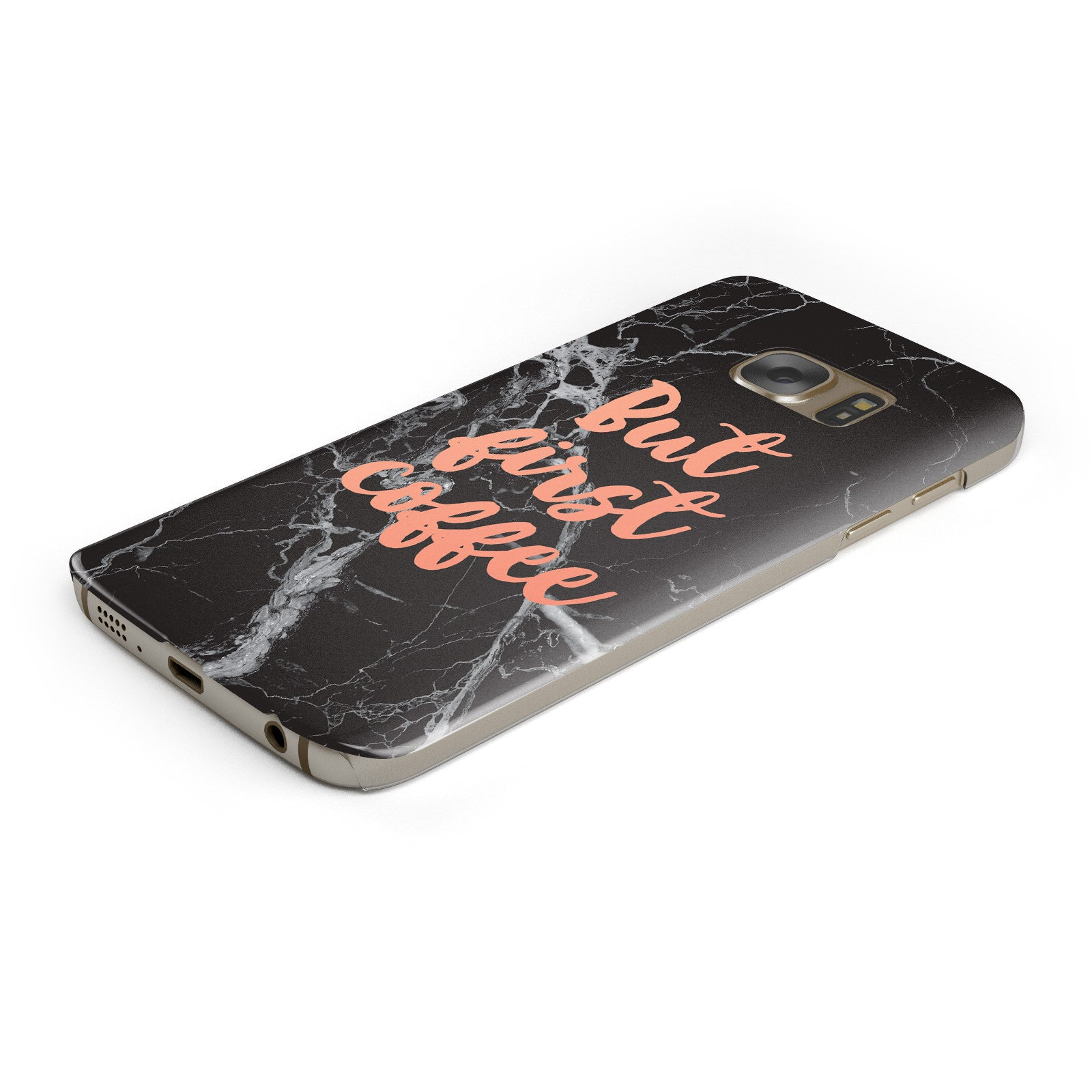 But First Coffee Black Marble Effect Samsung Galaxy Case Bottom Cutout
