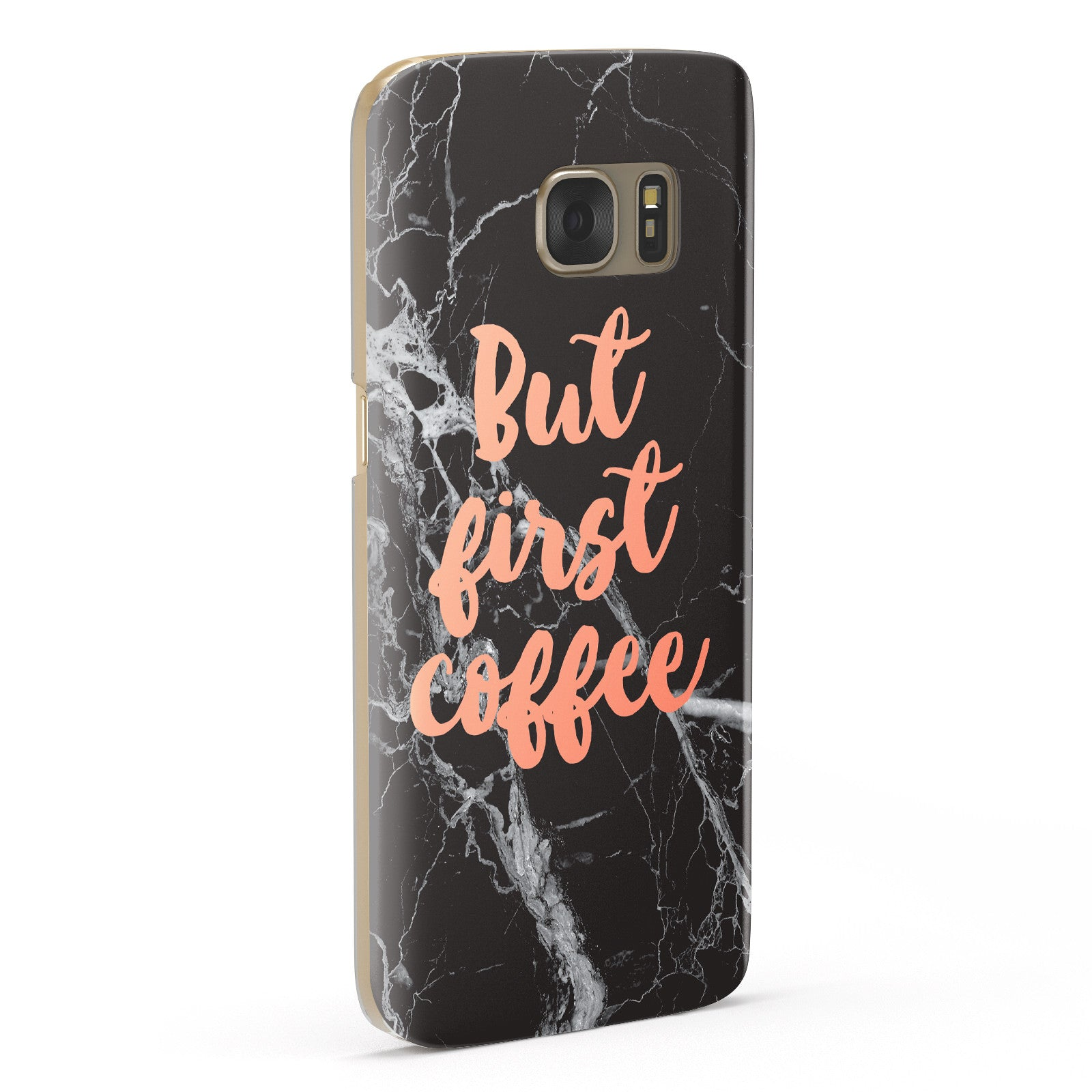 But First Coffee Black Marble Effect Samsung Galaxy Case Fourty Five Degrees