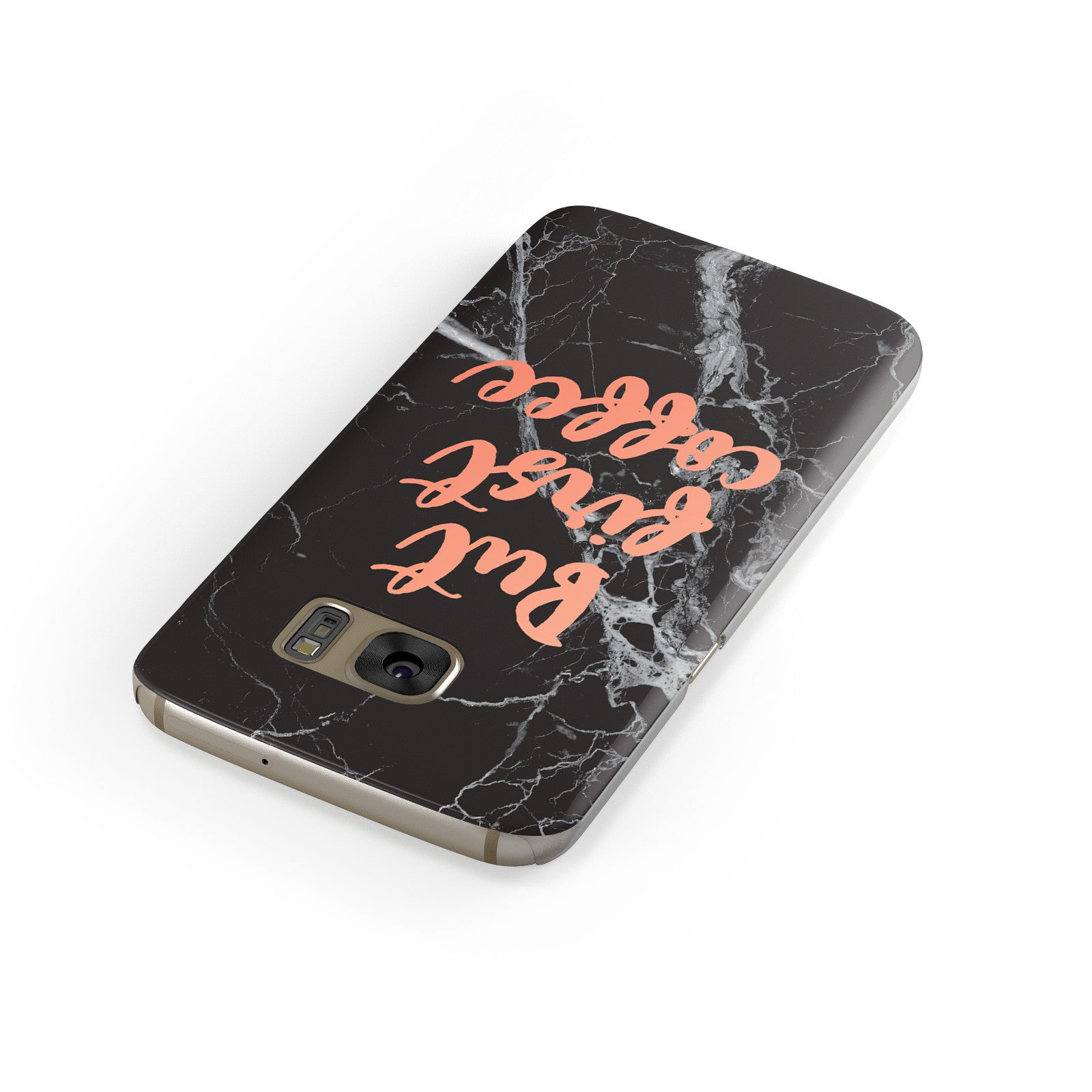 But First Coffee Black Marble Effect Samsung Galaxy Case Front Close Up