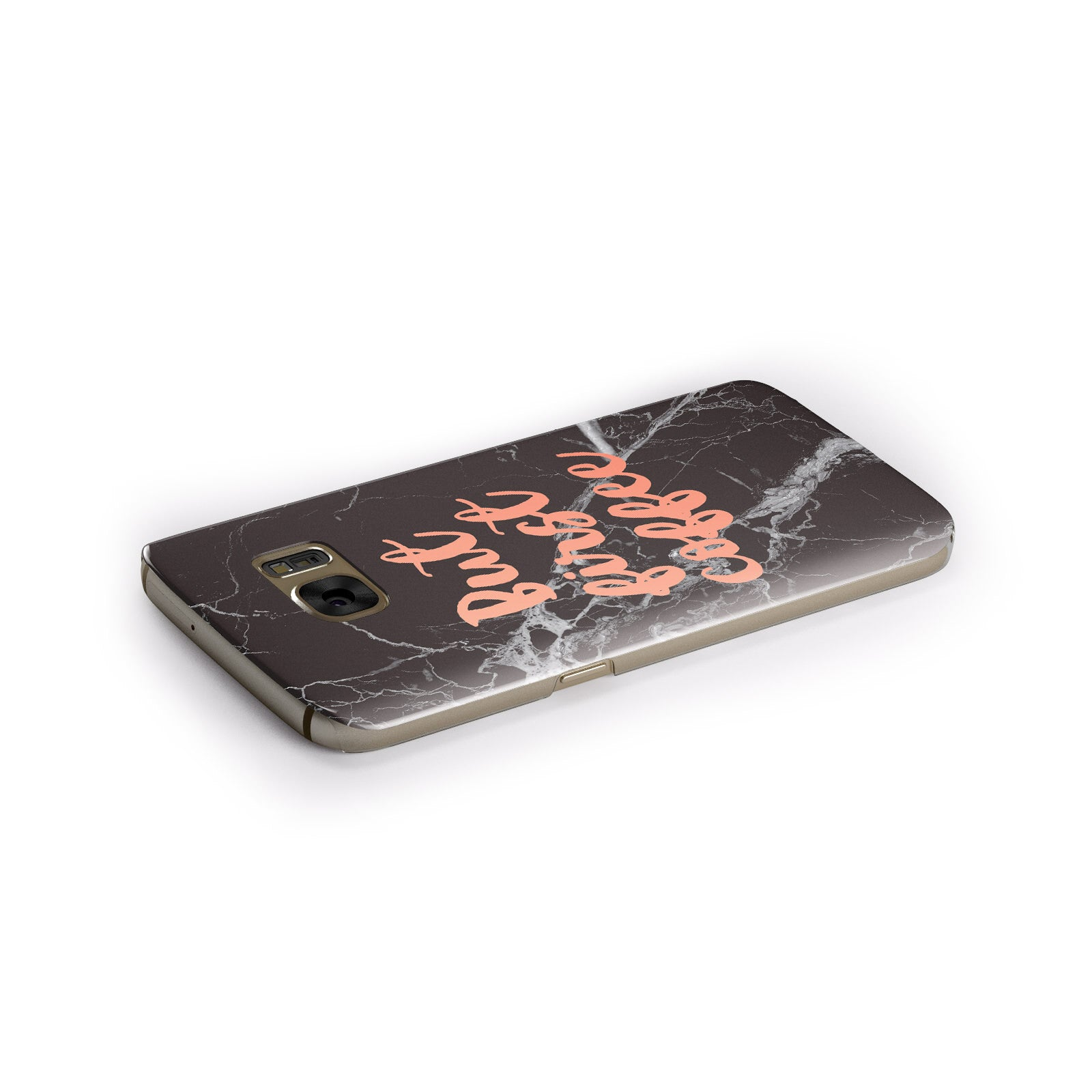But First Coffee Black Marble Effect Samsung Galaxy Case Side Close Up