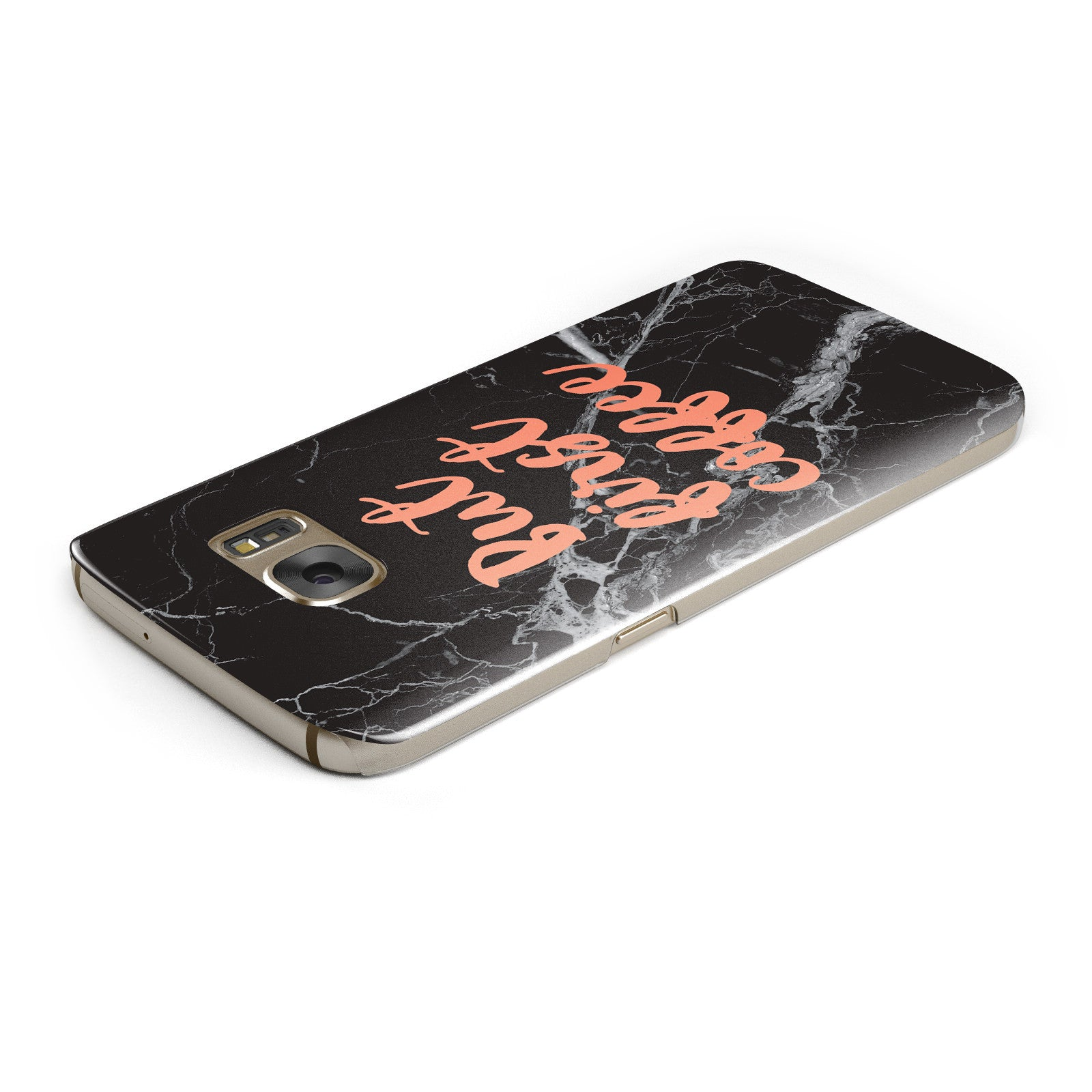 But First Coffee Black Marble Effect Samsung Galaxy Case Top Cutout