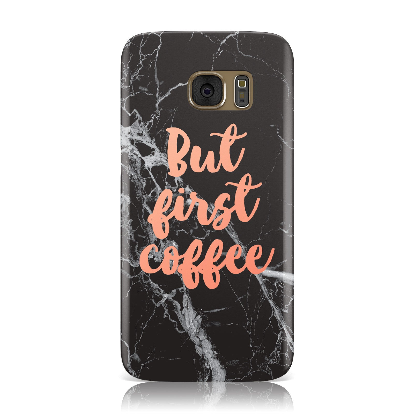 But First Coffee Black Marble Effect Samsung Galaxy Case