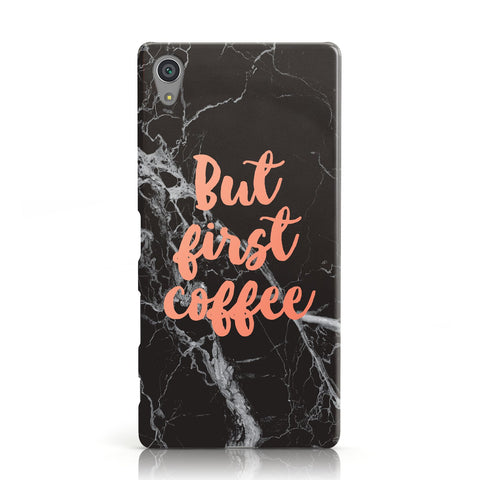 But First Coffee Black Marble Effect Sony Xperia Case