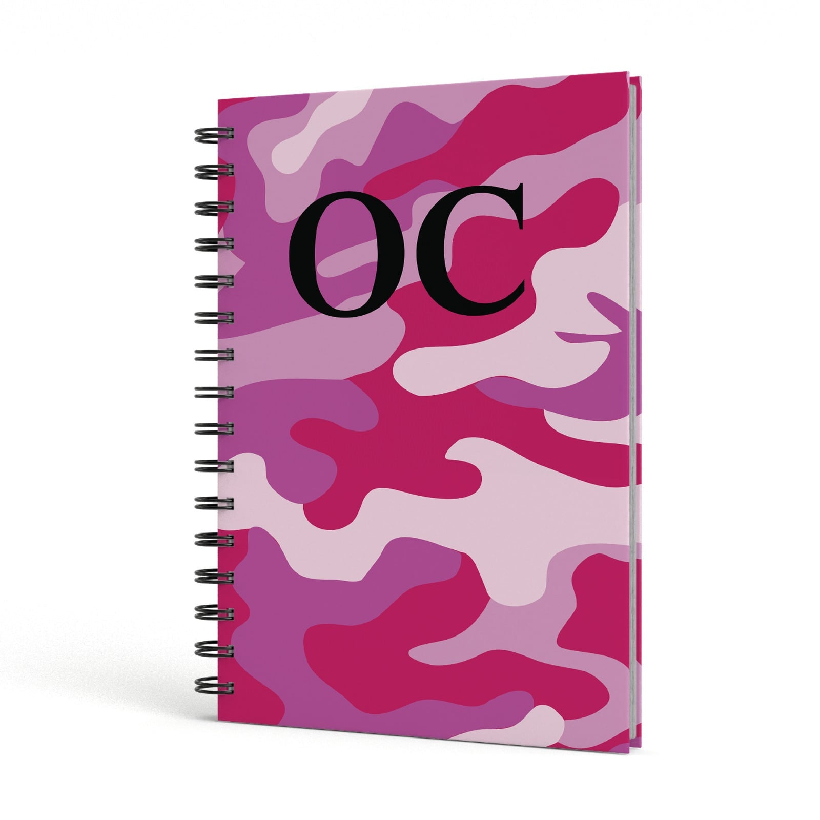 Camouflage Personalised A5 Hardcover Notebook Side View