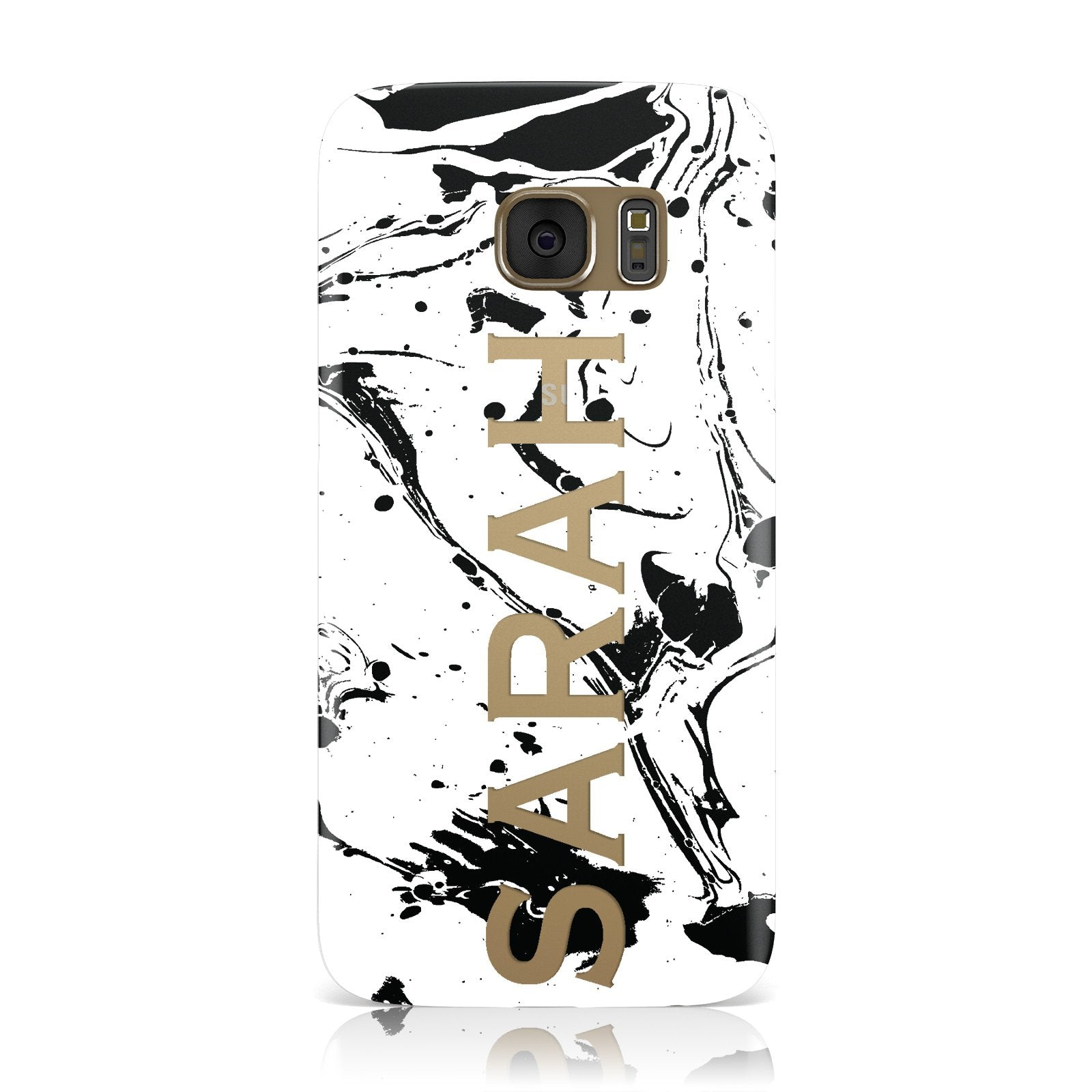 Personalised Clear Name Black Swirl Marble Custom Samsung Galaxy Case