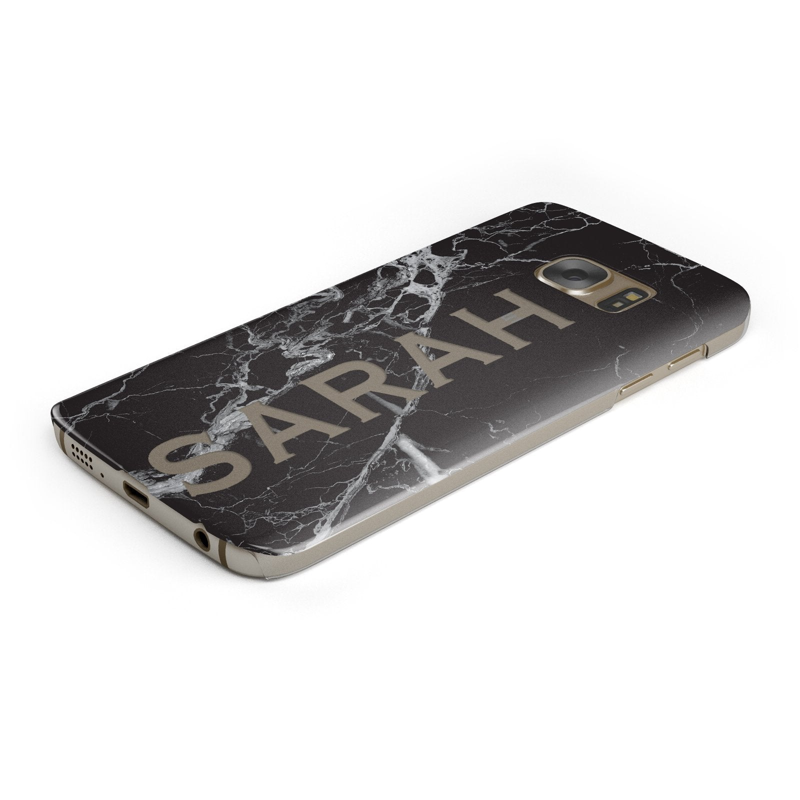Personalised Clear Name Cutout Black Marble Custom Samsung Galaxy Case Bottom Cutout