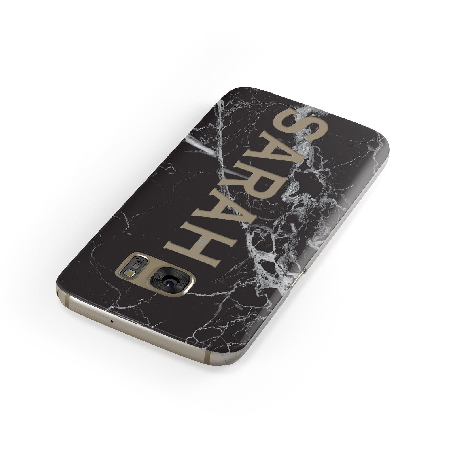 Personalised Clear Name Cutout Black Marble Custom Samsung Galaxy Case Front Close Up