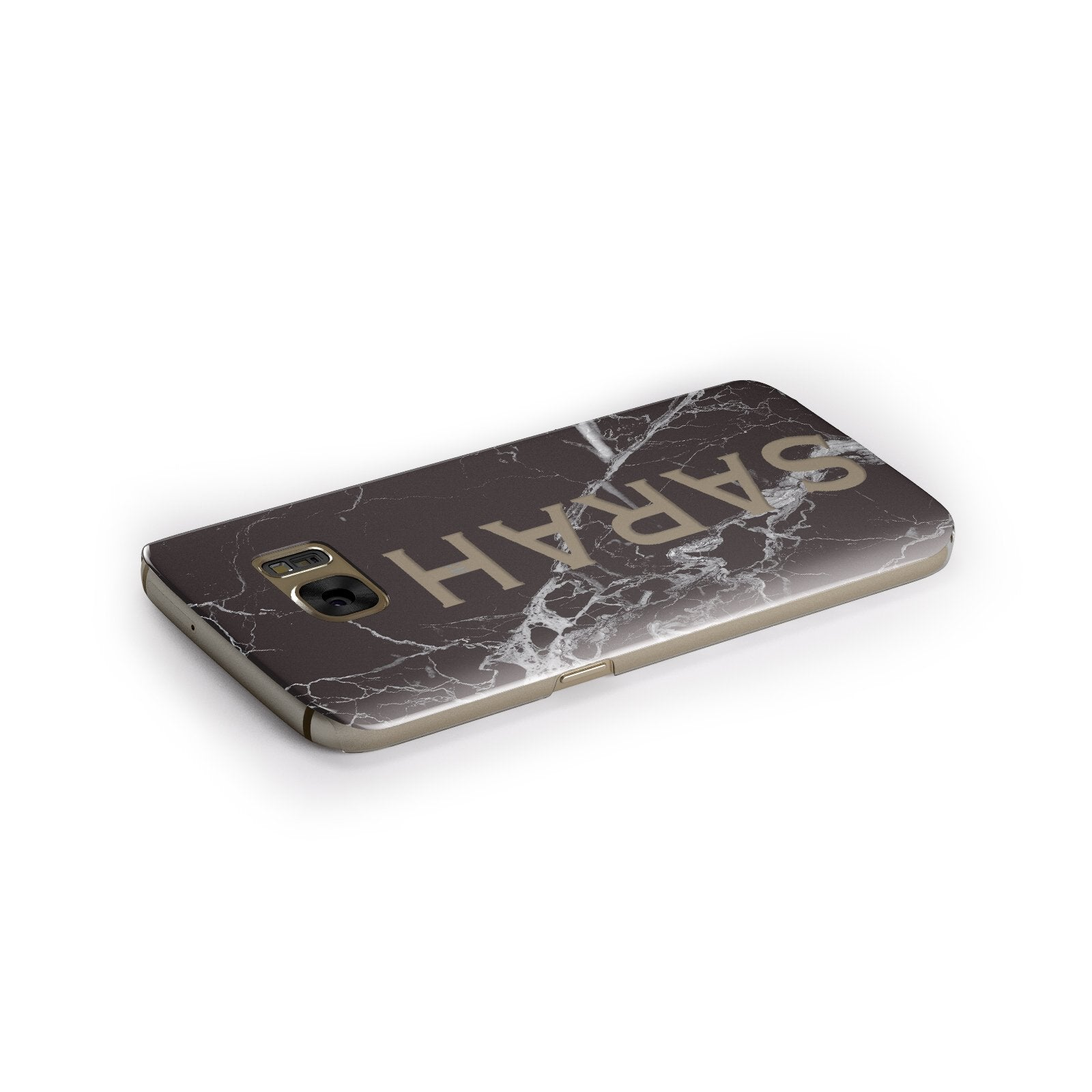 Personalised Clear Name Cutout Black Marble Custom Samsung Galaxy Case Side Close Up