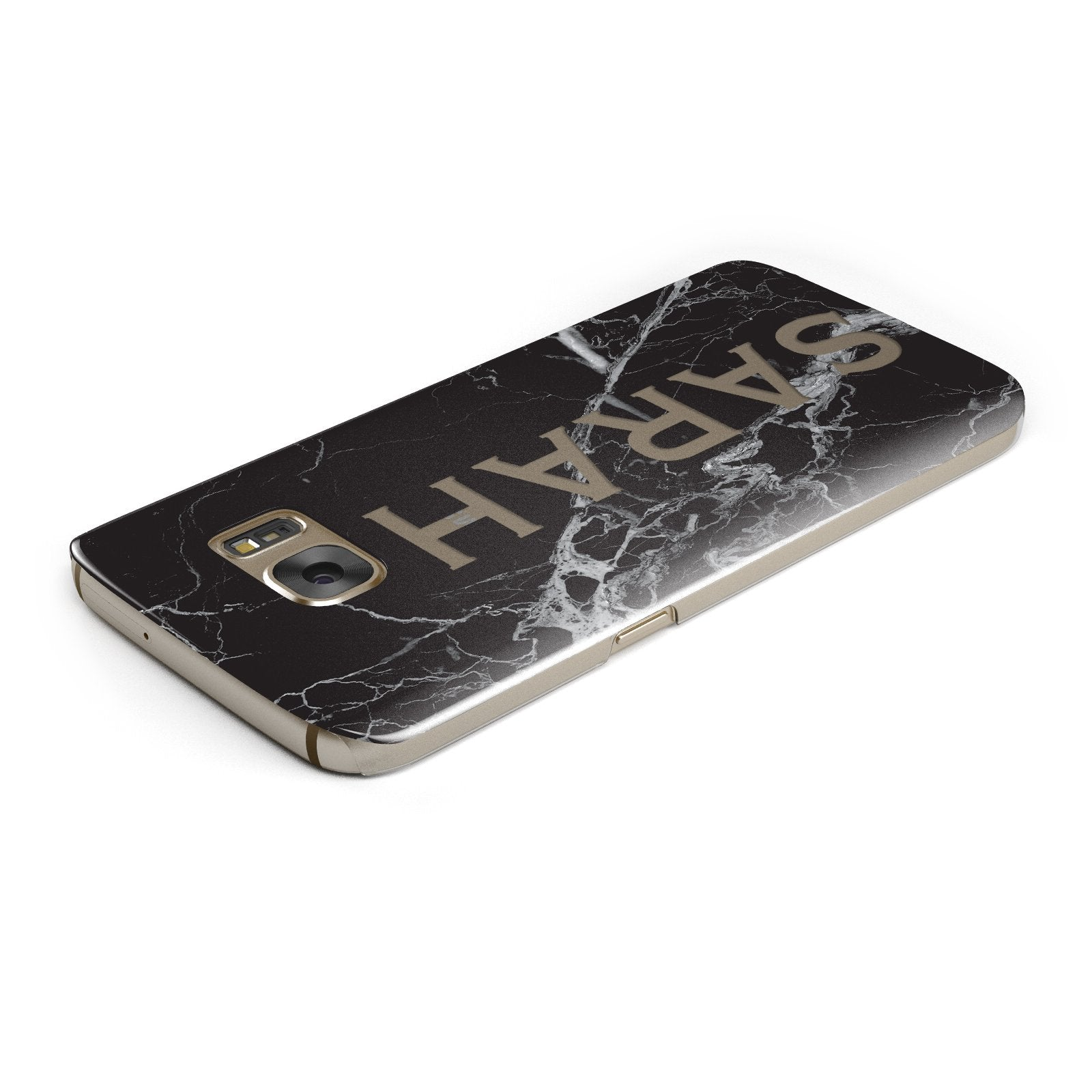 Personalised Clear Name Cutout Black Marble Custom Samsung Galaxy Case Top Cutout
