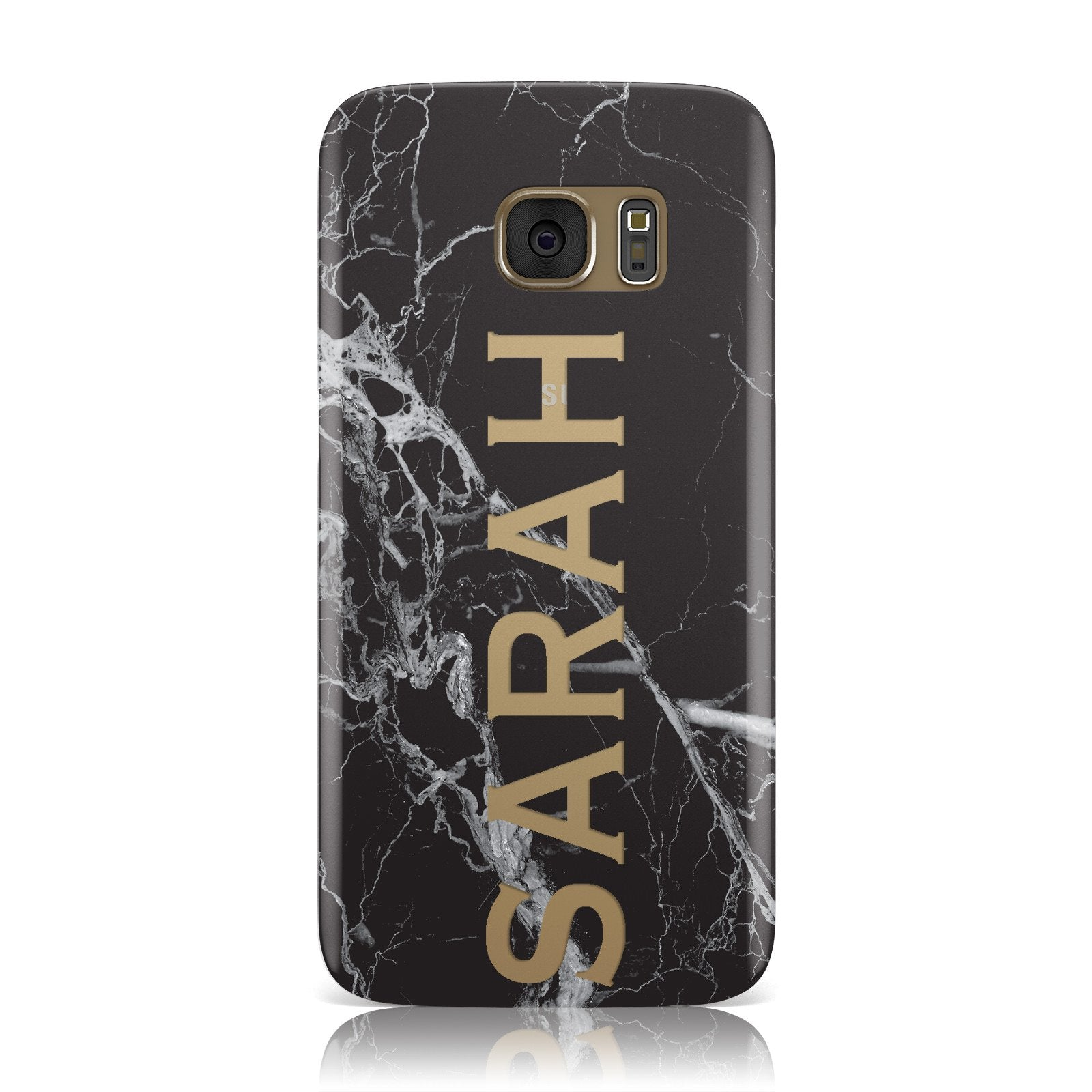 Personalised Clear Name Cutout Black Marble Custom Samsung Galaxy Case