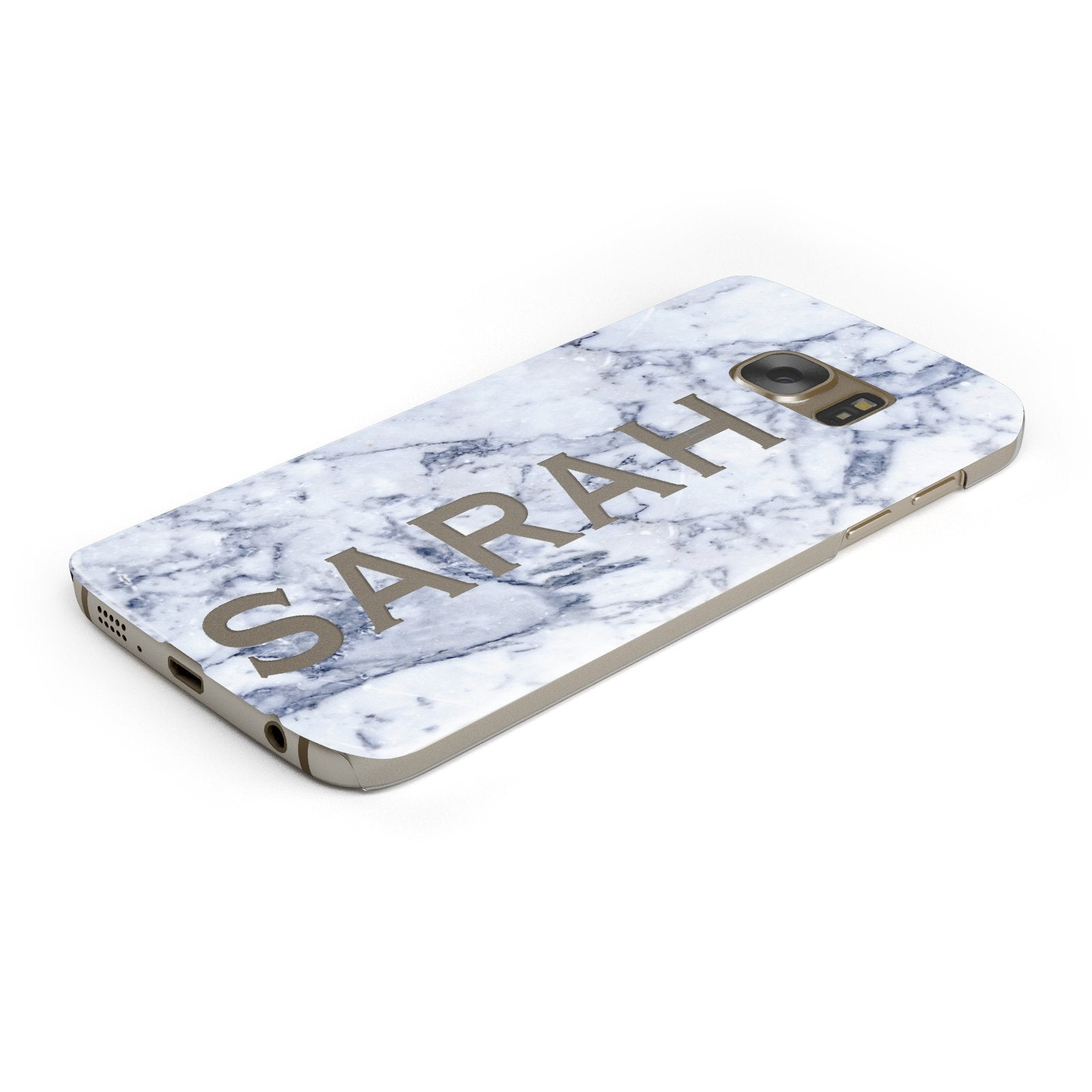 Personalised Clear Name Cutout Blue Marble Custom Samsung Galaxy Case Bottom Cutout